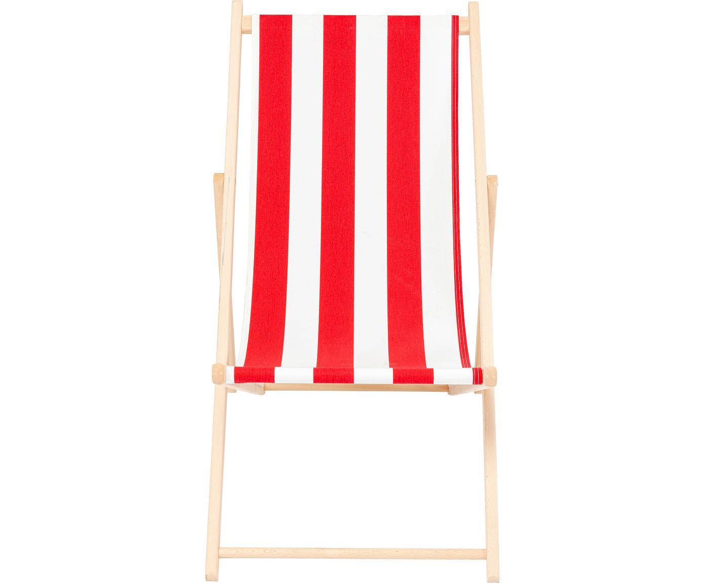 Klappbarer Liegestuhl Hot Summer, Gestell: Buchenholz, Rot, Weiß, Buchenholz, B 96 x T 56 cm