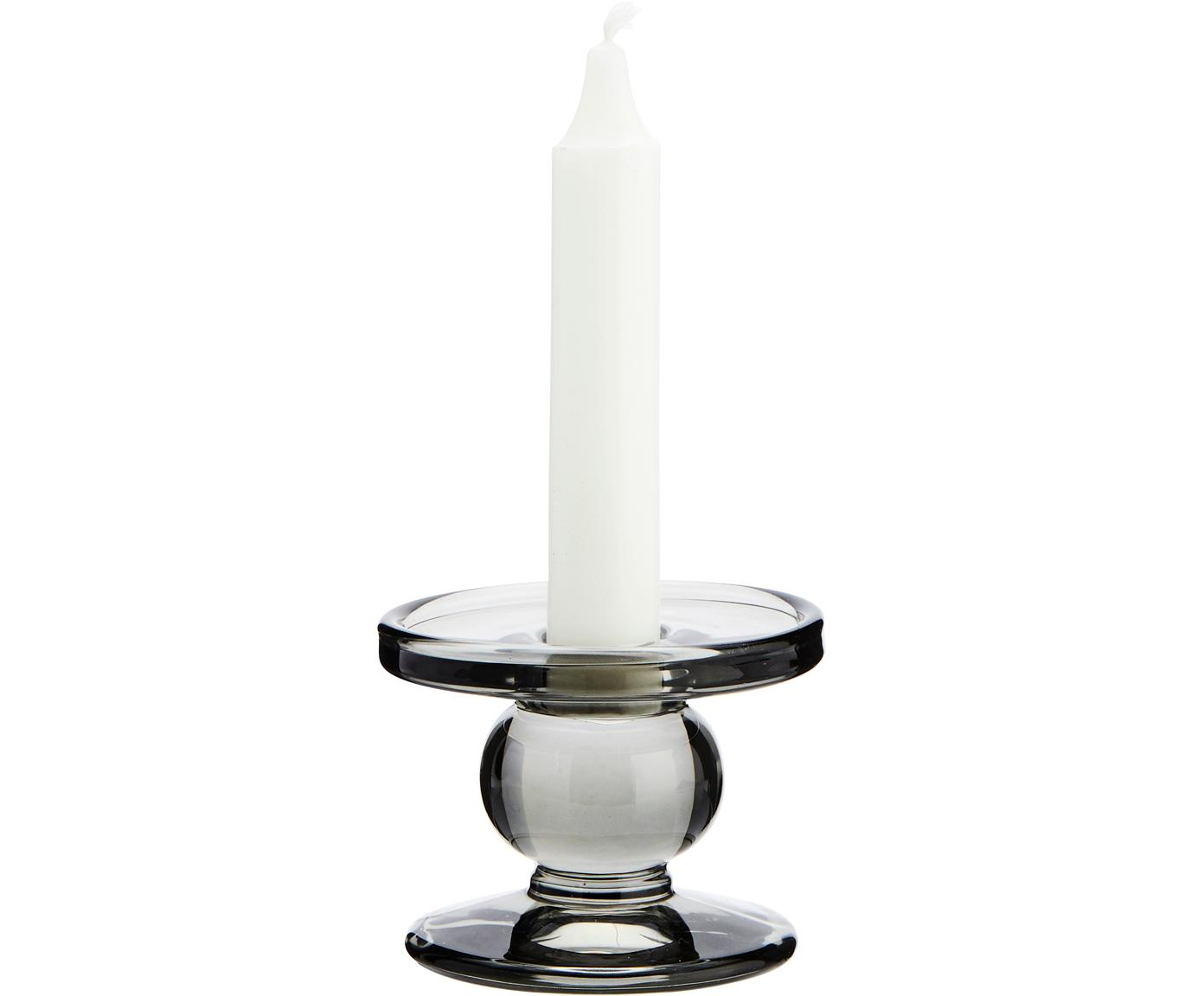 Kerzenhalter Andre, Glas, Grau, Ø 8 x H 7 cm