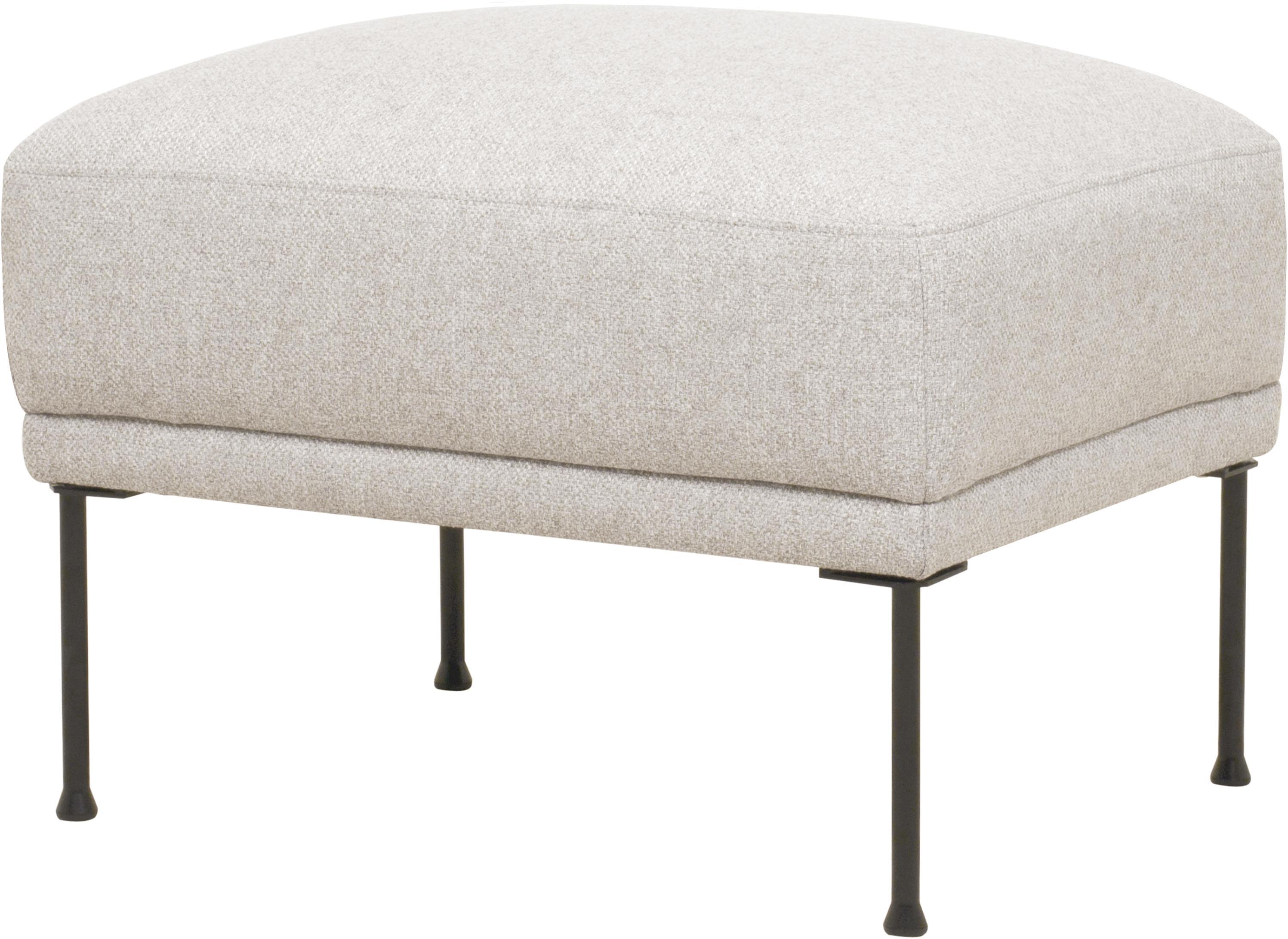 Sofa-Hocker Fluente, Bezug: 80% Polyester, 20% Ramie , Gestell: Massives Kiefernholz, Füße: Metall, pulverbeschichtet, Webstoff Beige, 62 x 46 cm