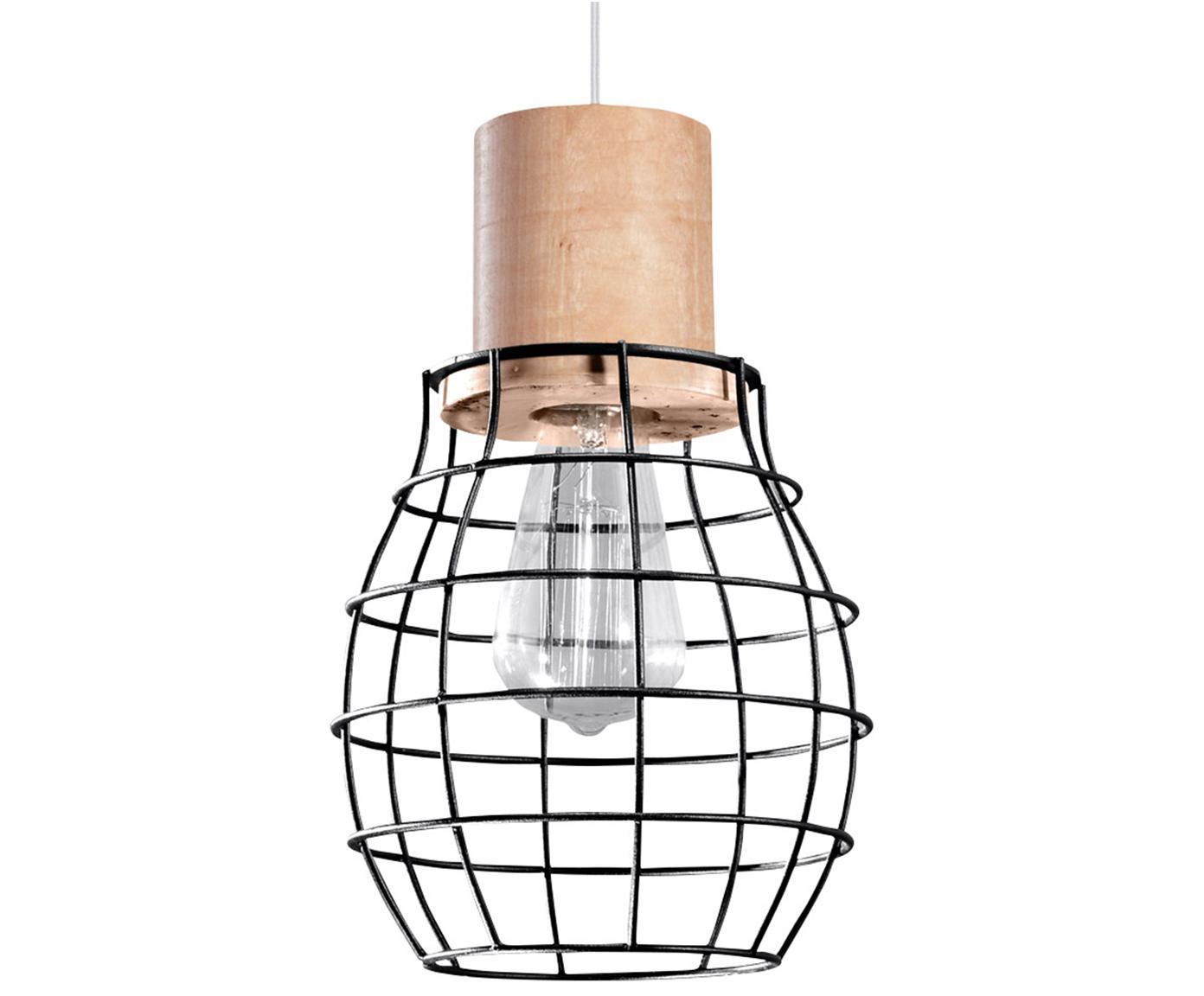Lampada a sospensione Biella, Acciaio, legno, Nero, legno, Ø 19 x Alt. 100 cm
