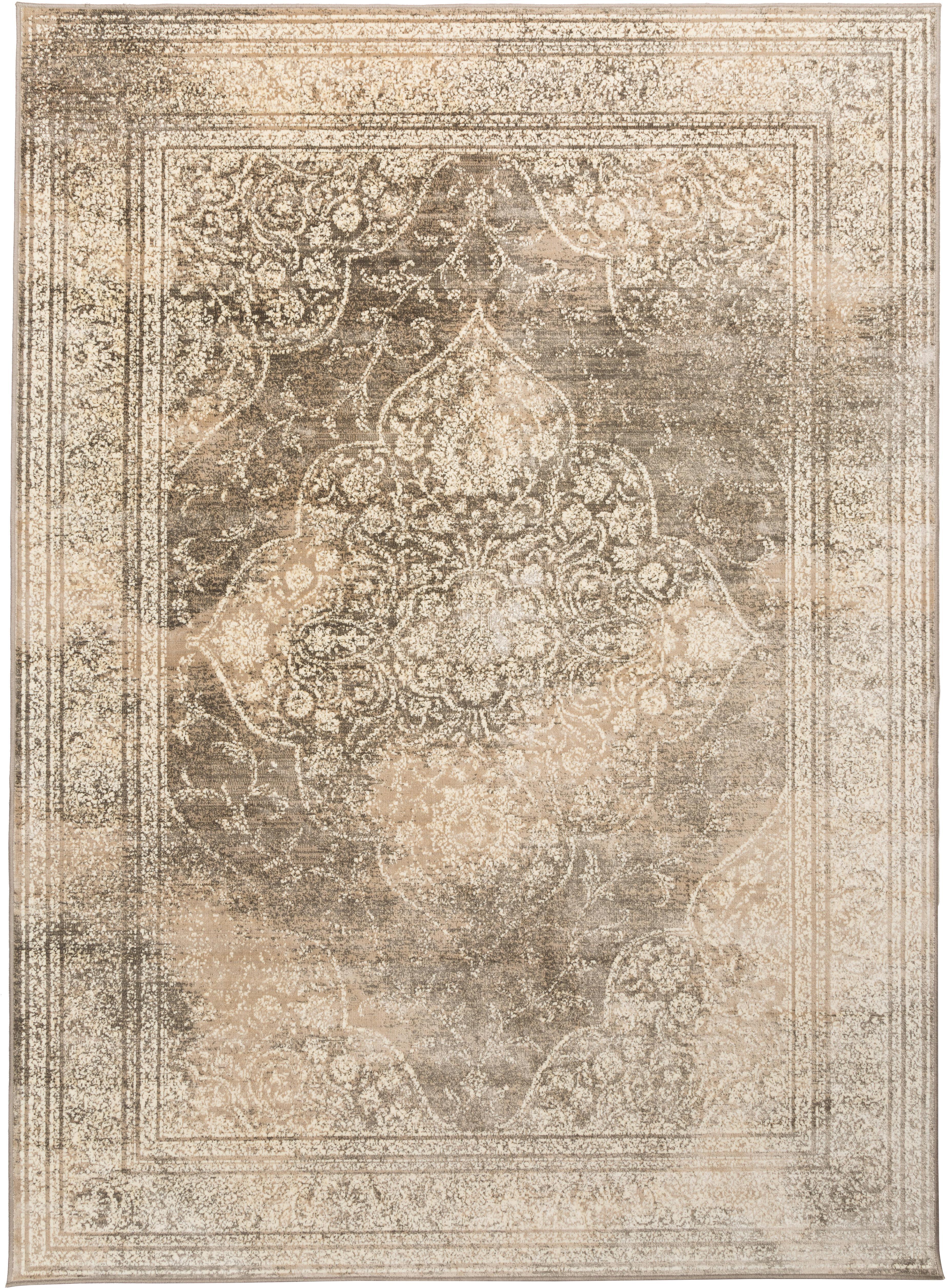 Vintage vloerkleed Rugged in beige, Beige, bruin, 170 x 240 cm