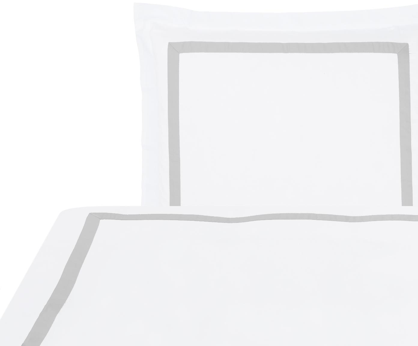 Baumwollsatin-Bettwäsche Nora in Weiß/Hellgrau, Webart: Satin Fadendichte 400 TC,, Weiß, Hellgrau, 135 x 200 cm + 1 Kissen 80 x 80 cm
