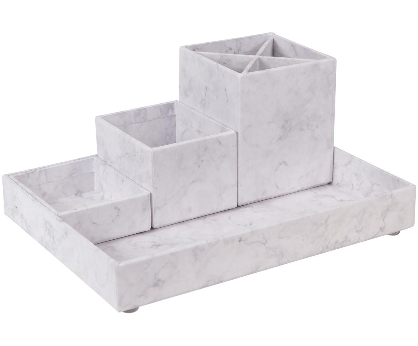 Büro-Organizer-Set Lena, 4-tlg., fester, laminierter Karton, Weiss, marmoriert, Verschiedene Grössen