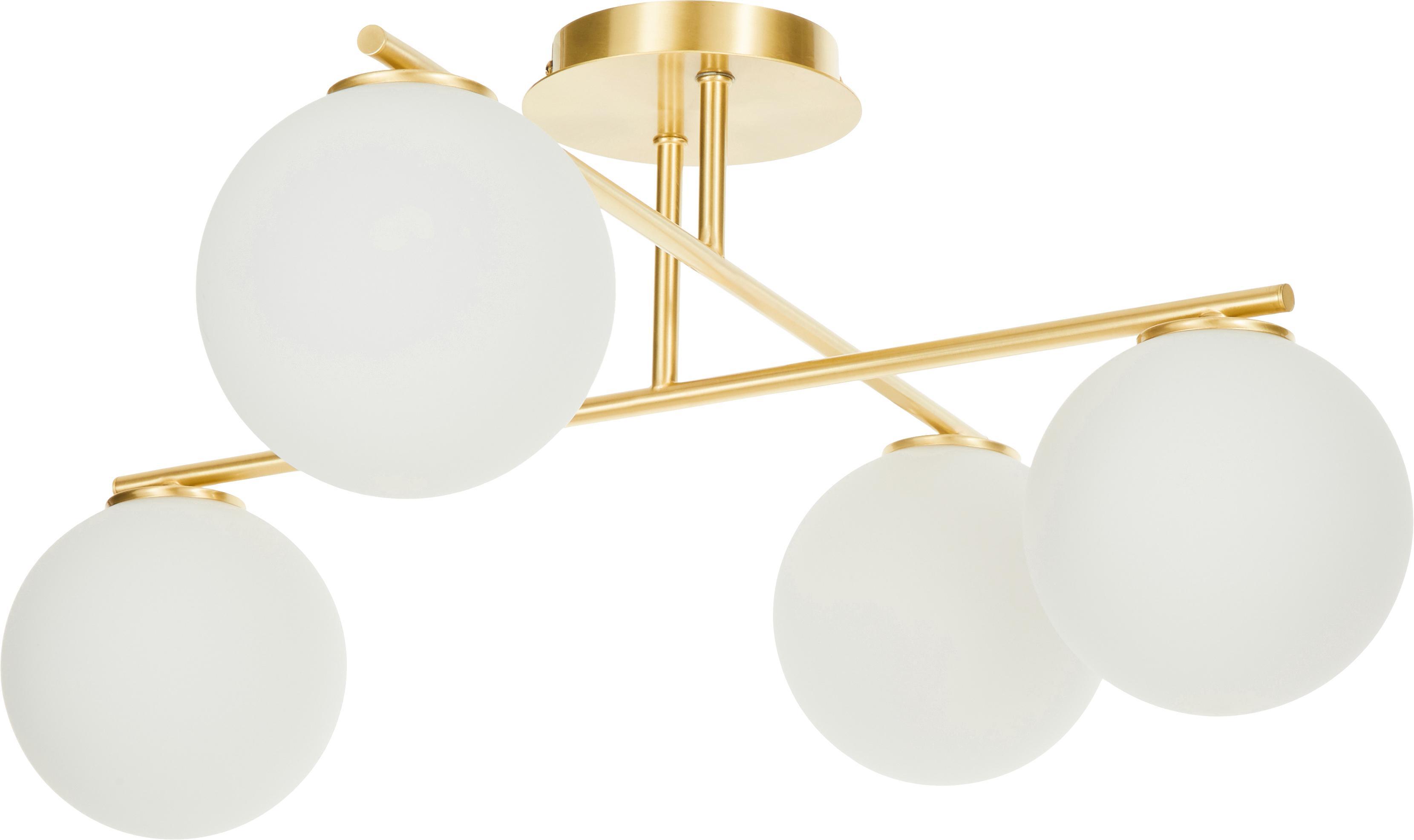Lampada da soffitto dorata Atlanta, Baldacchino: metallo ottonato, Bianco, ottone, Larg. 65 x Alt. 30 cm