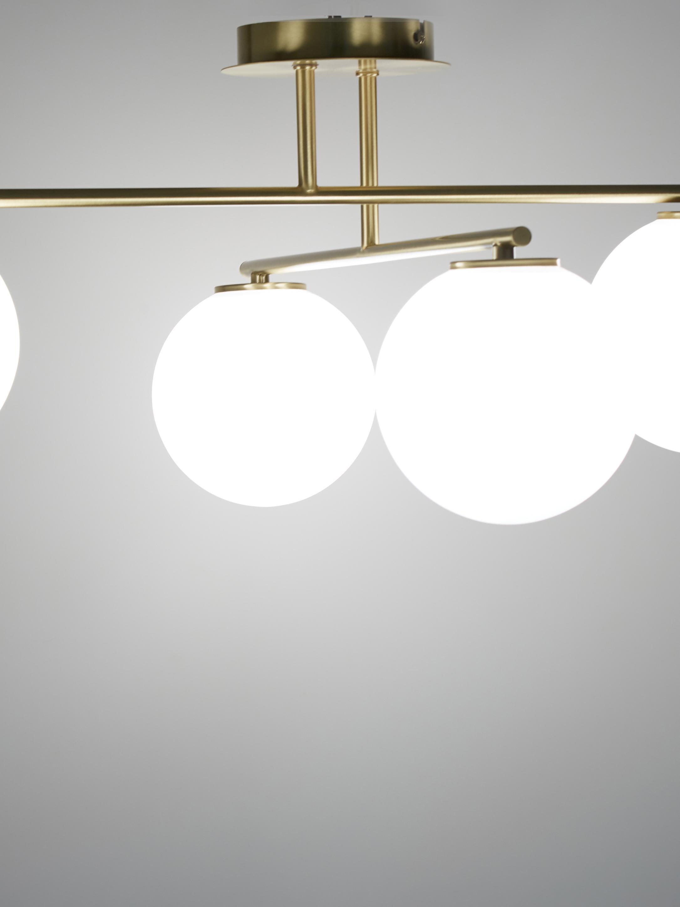Deckenleuchte Atlanta in Gold, Baldachin: Metall, vermessingt, Weiß, Messing, 65 x 30 cm