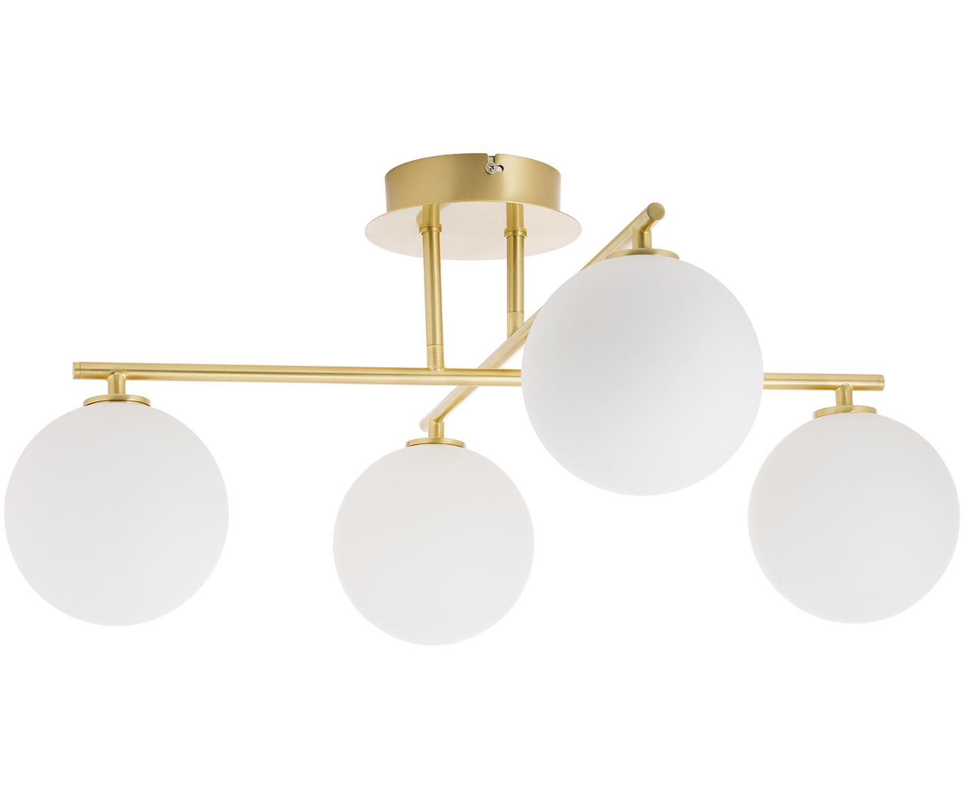 Lampada da soffitto Atlanta, Baldacchino: metallo ottonato, Bianco, ottone, Larg. 65 x Alt. 30 cm