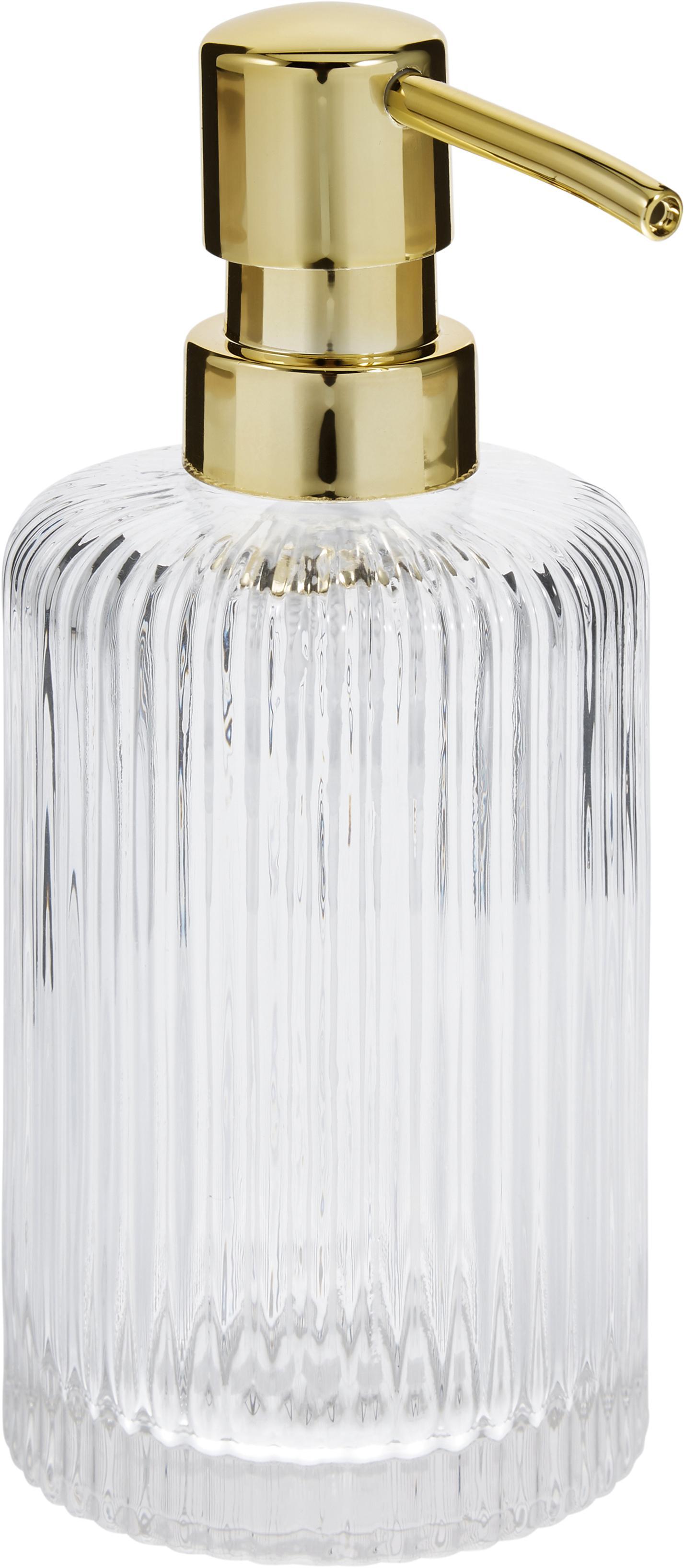 Zeepdispenser Gulji van glas, Houder: glas, Pompje: kunststof, Transparant, goudkleurig, Ø 7 x H 17 cm