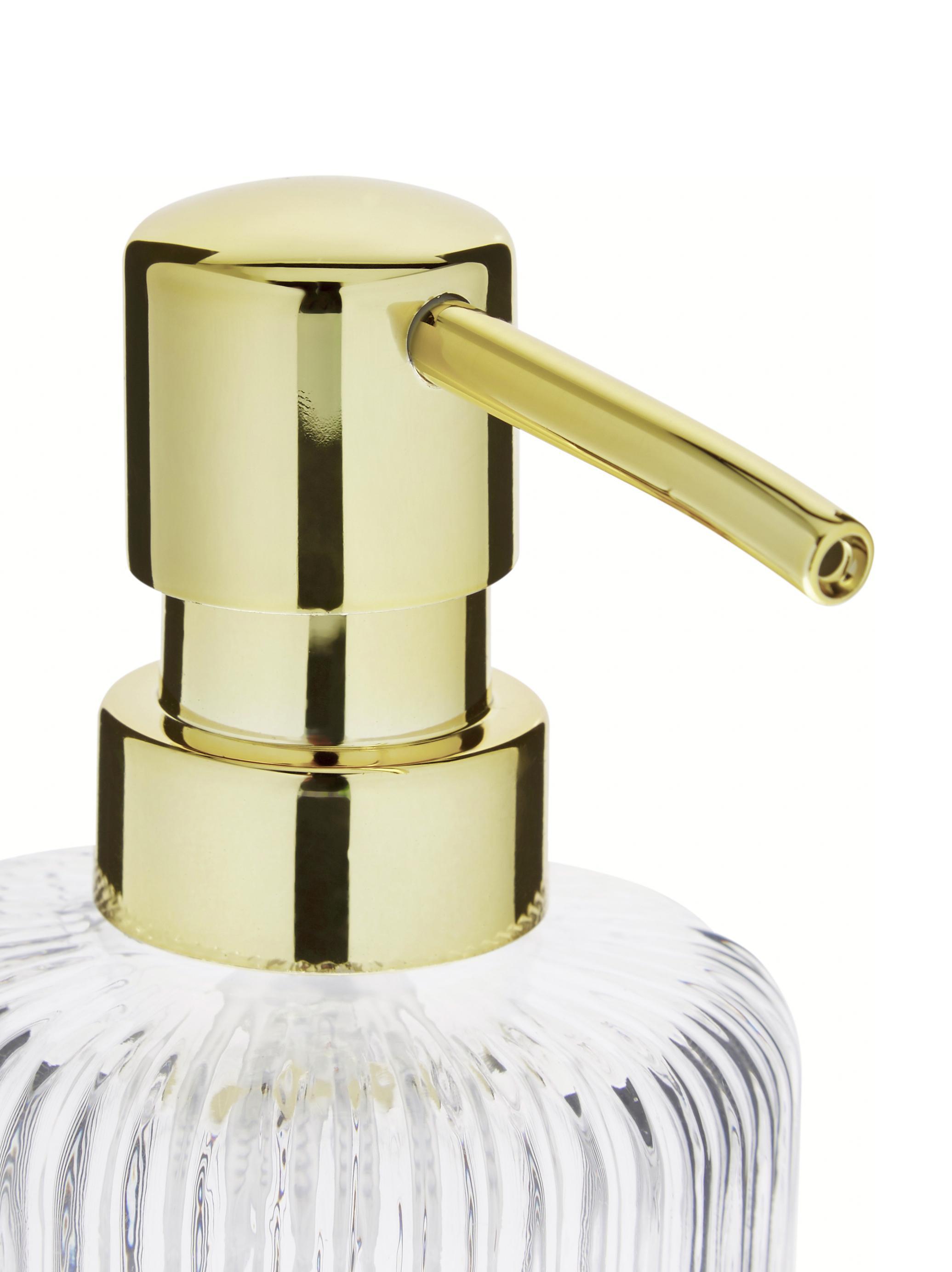 Glas-Seifenspender Gulji, Behälter: Glas, Pumpkopf: Kunststoff, Transparent, Goldfarben, Ø 7 x H 17 cm