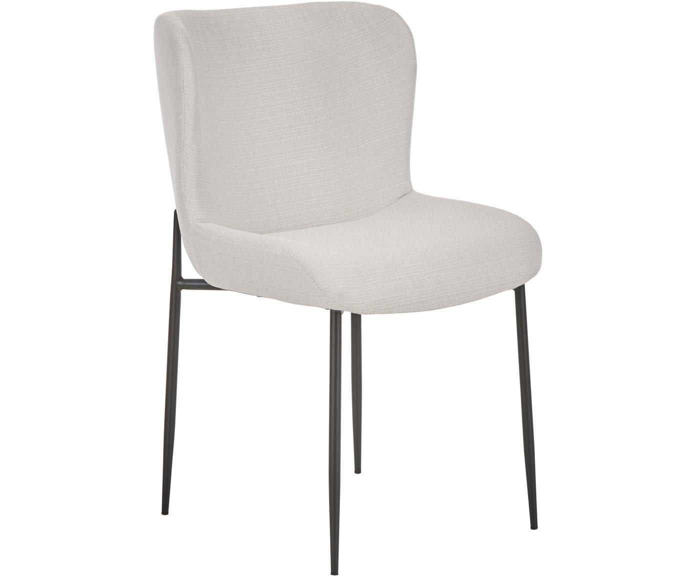 Krzesło tapicerowane Tess, Tapicerka: poliester 25000cykli w , Nogi: metal malowany proszkowo, Kremowobiały, czarny, S 48 x G 64 cm