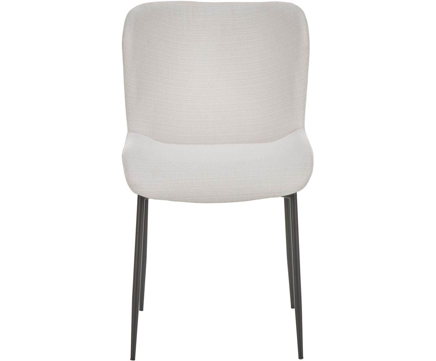 Gestoffeerde stoel Tess, Bekleding: polyester, Poten: gepoedercoat metaal, Geweven stof crèmewit, poten zwart, B 48 x D 64 cm