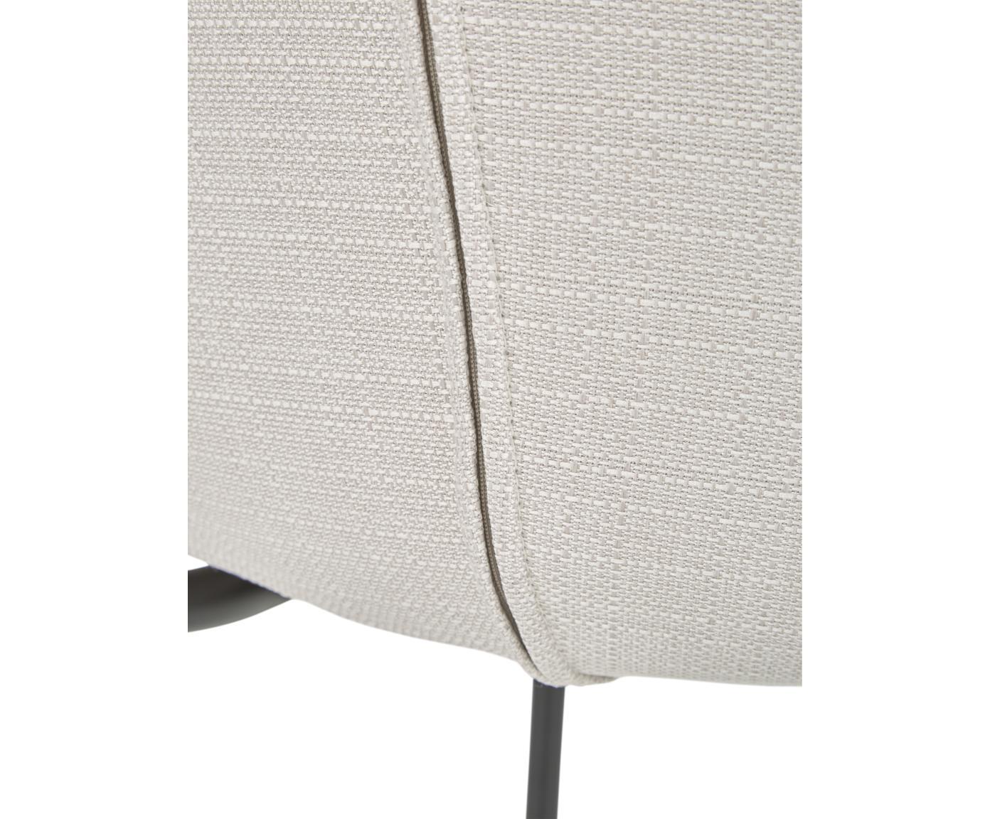 Polsterstuhl Tess, Bezug: Polyester 25.000 Scheuert, Beine: Metall, pulverbeschichtet, Webstoff Cremeweiß, Beine Schwarz, B 48 x T 64 cm