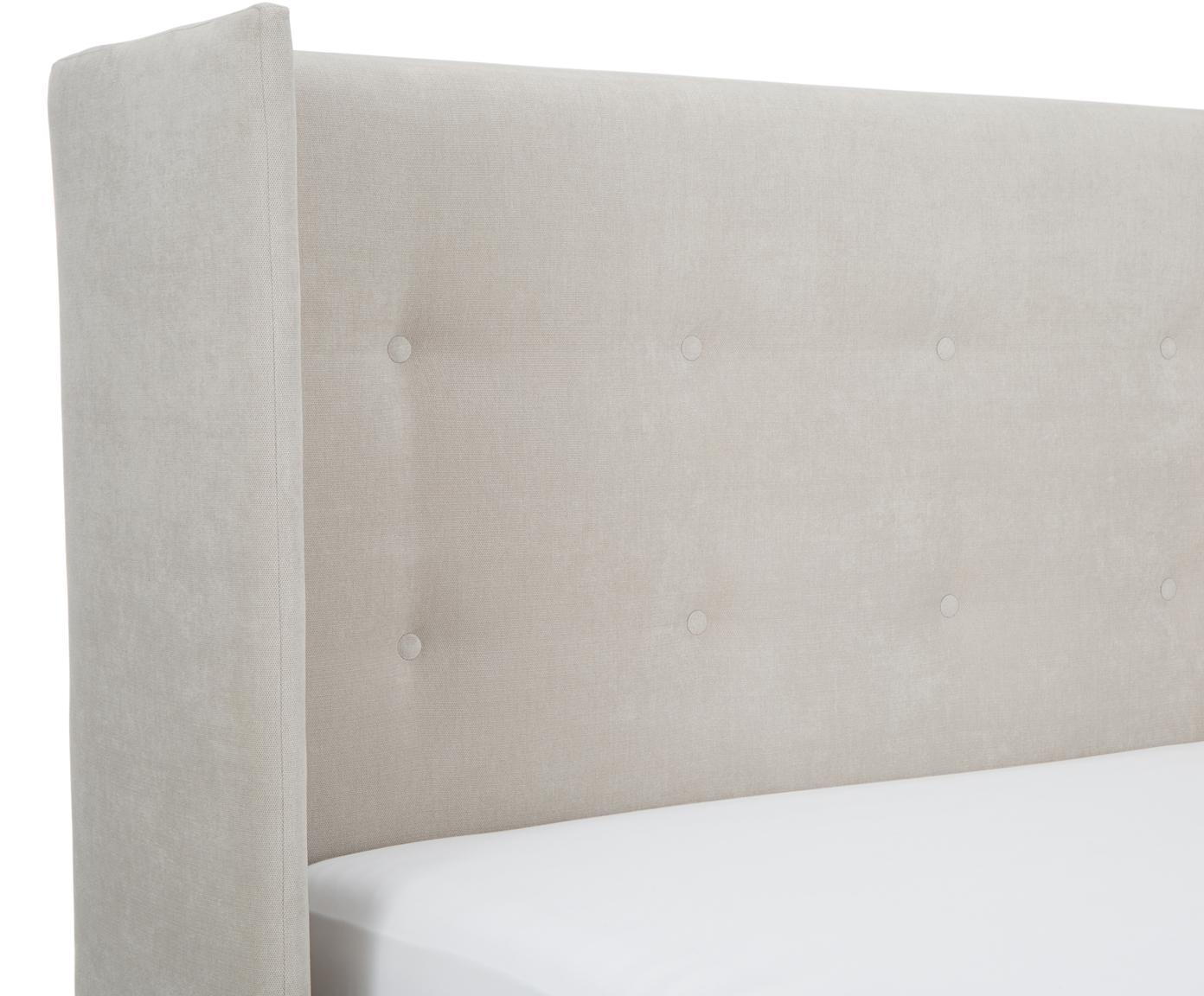 Łóżko tapicerowane ze schowkiem Star, Korpus: lite drewno sosnowe, Tapicerka: poliester (materiał tekst, Jasny szary, 180 x 200 cm