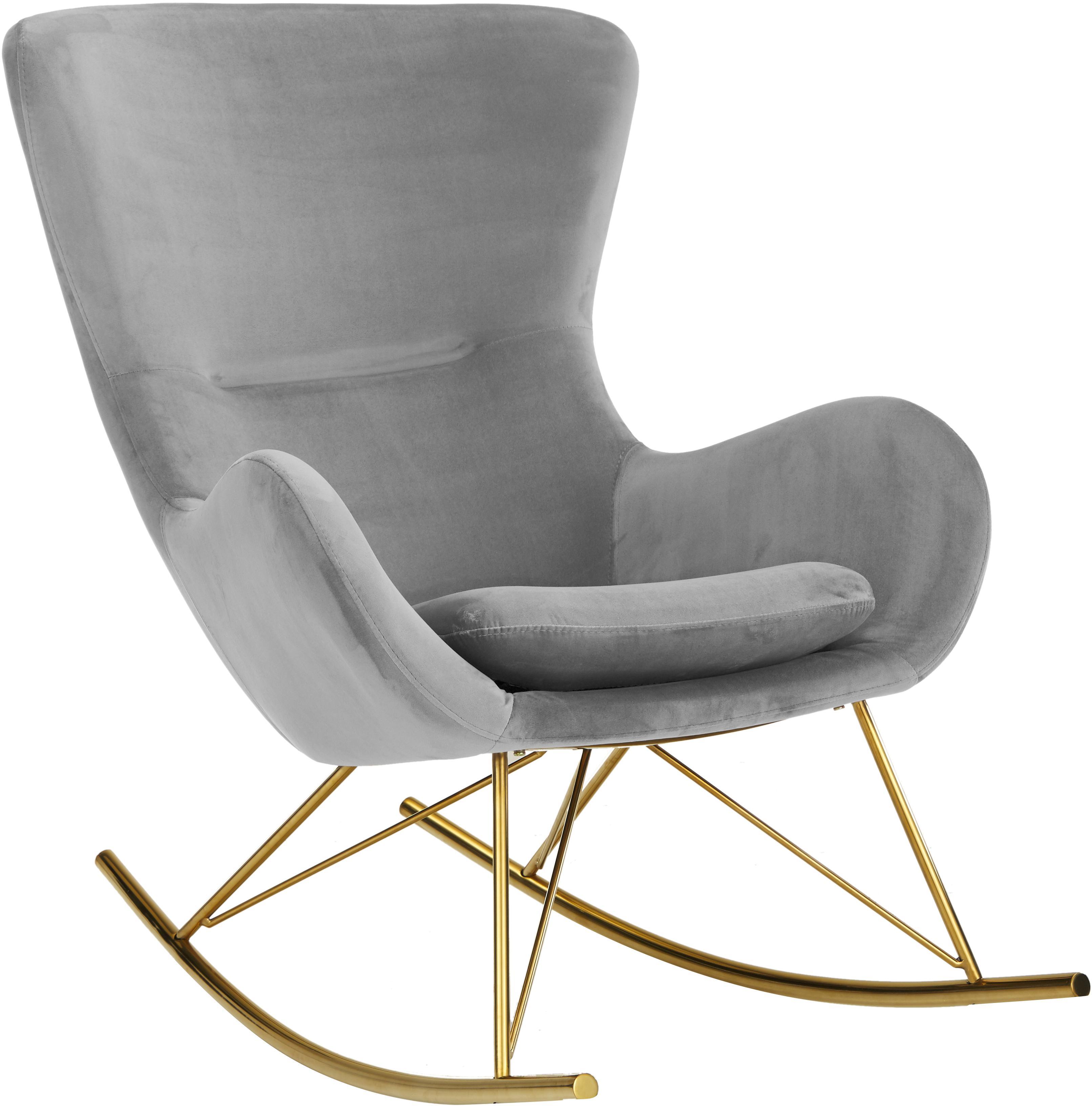 Fluwelen schommelstoel Wing, Bekleding: fluweel (polyester), Frame: gegalvaniseerd metaal, Fluweel grijs, B 77 x D 96 cm