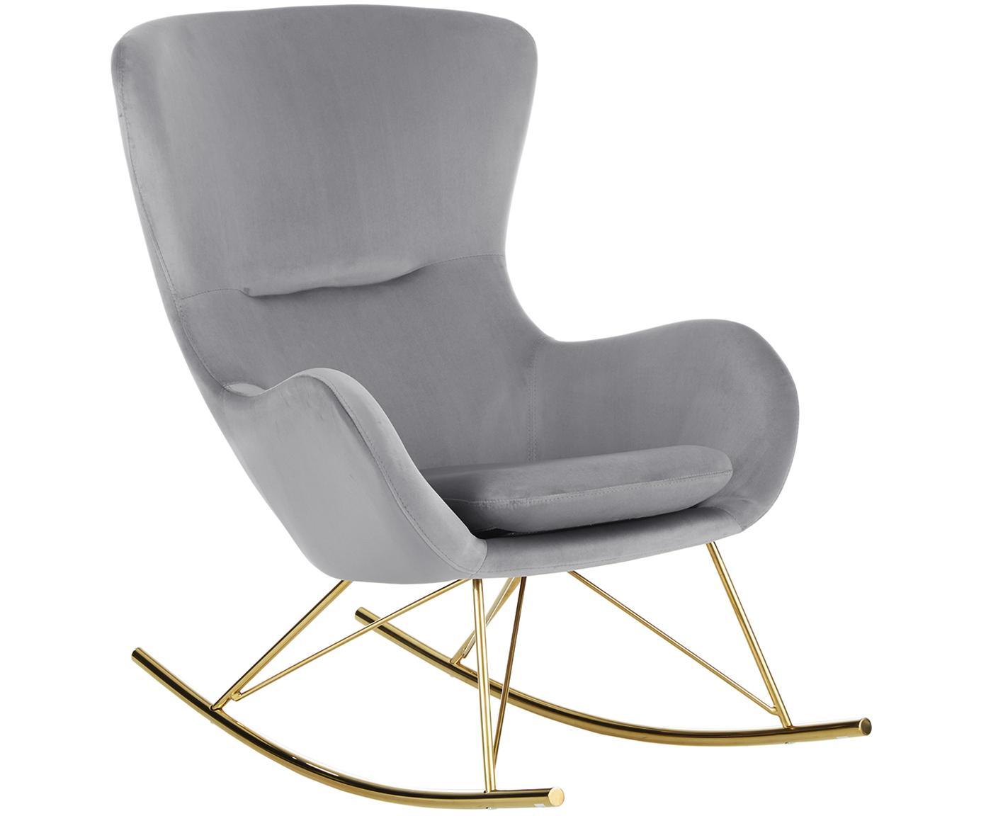 Fotel bujany  z aksamitu Wing, Tapicerka: aksamit (poliester) 1500, Stelaż: metal galwanizowany, Szary, S 77 x G 96 cm
