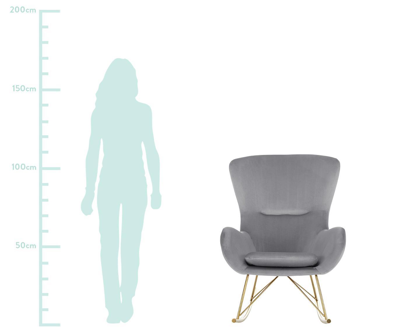 Fluwelen schommelstoel Wing, Bekleding: fluweel (polyester), Frame: gegalvaniseerd metaal, Grijs, B 77 x D 96 cm