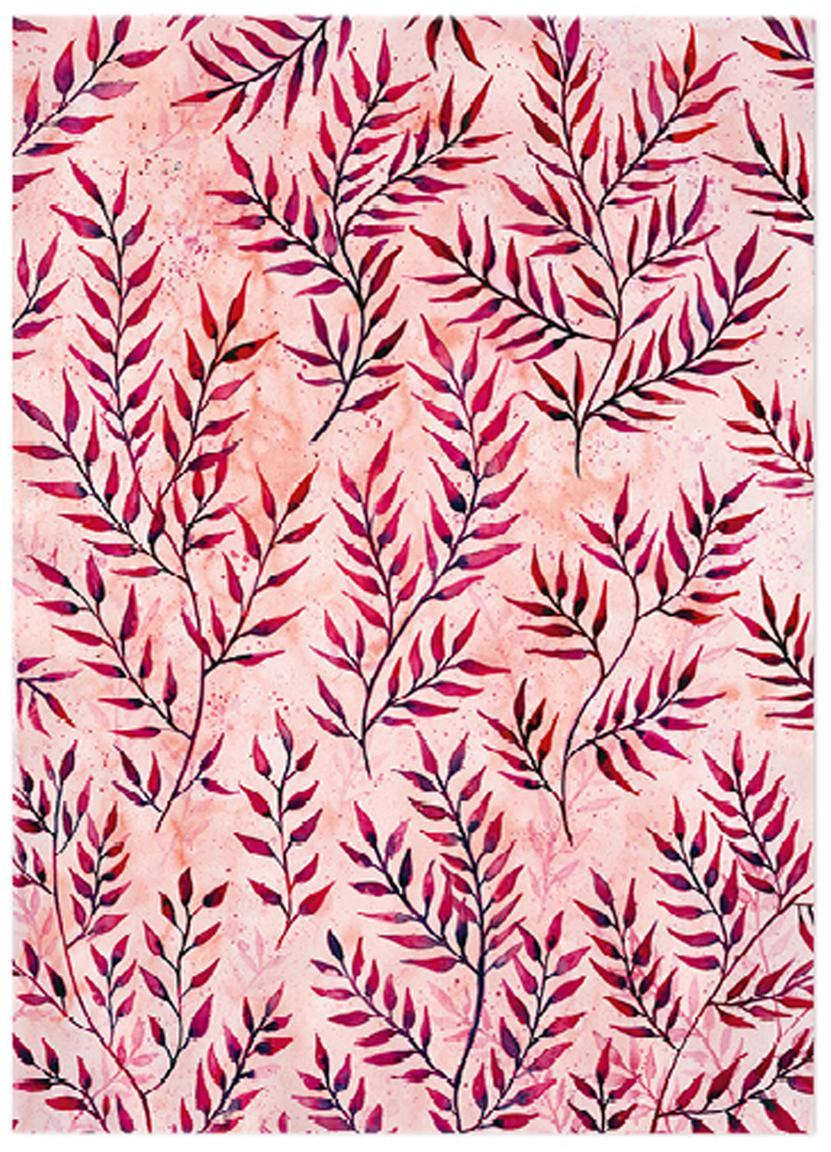 Geschenkpapier rollen Summer Leaves, 3 stuks, Papier, Roze, rood, 50 x 70 cm
