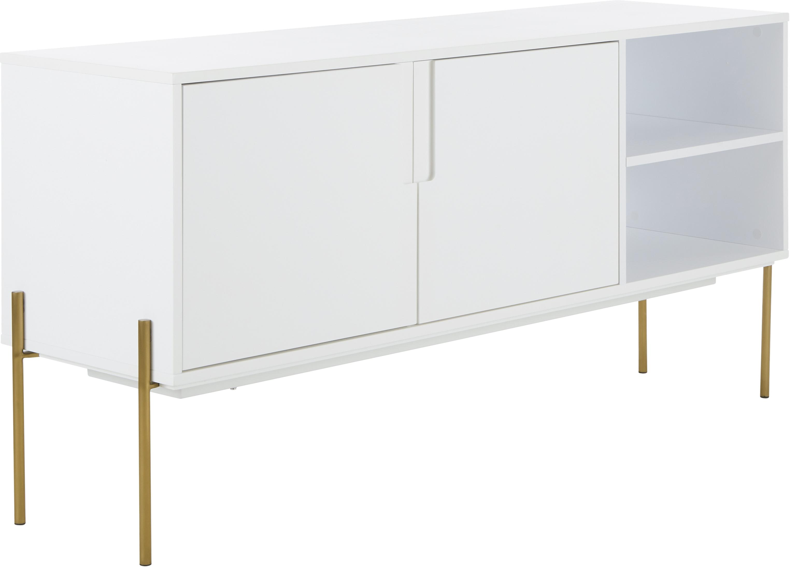 Weisses Sideboard Jesper mit Türen, Korpus: Mitteldichte Holzfaserpla, Korpus: WeissFüsse: Goldfarben, glänzend, 160 x 80 cm