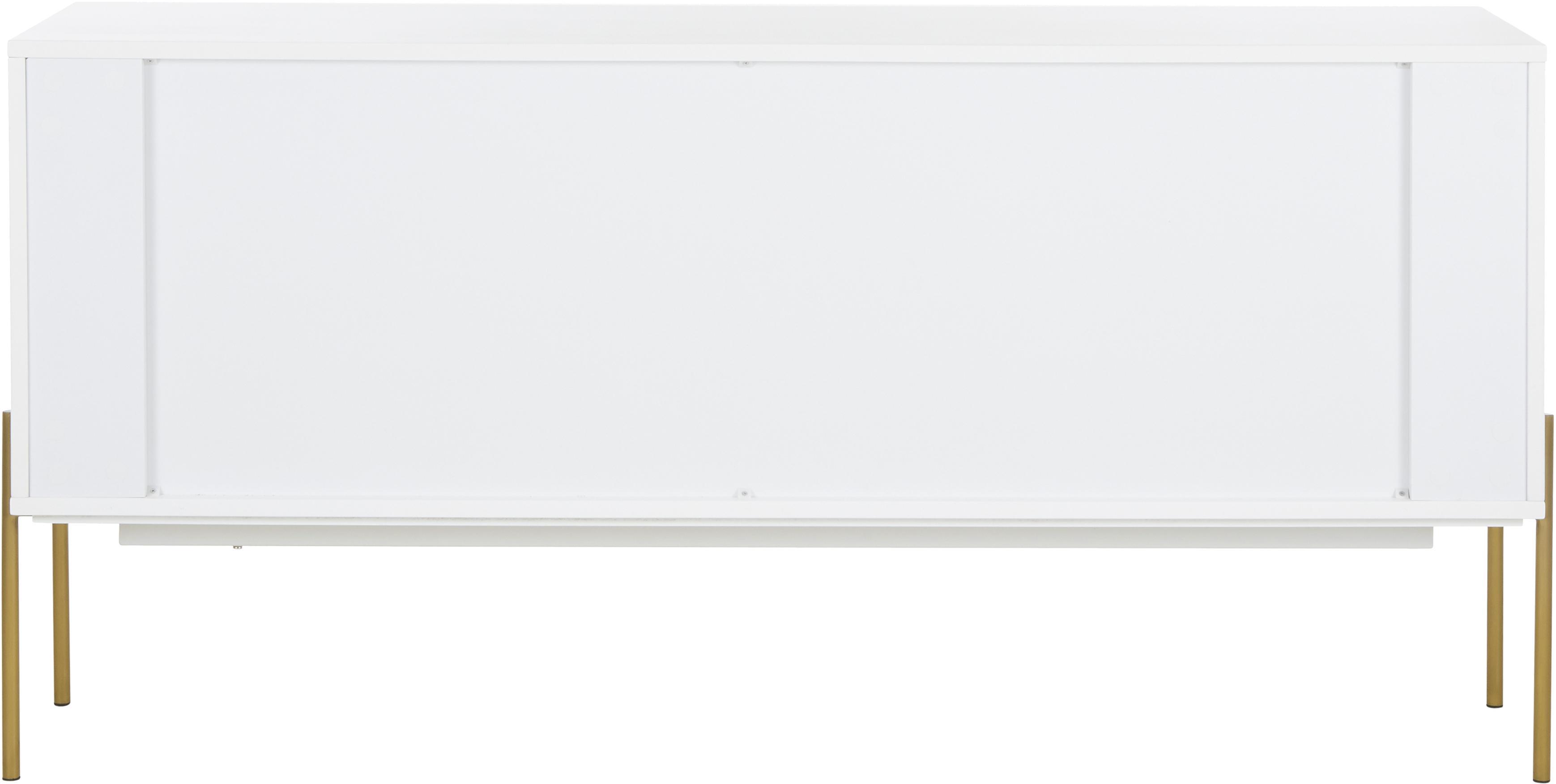 Weißes Sideboard Jesper mit Türen, Korpus: Mitteldichte Holzfaserpla, Füße: Metall, lackiert, Korpus: WeißFüße: Goldfarben, glänzend, 160 x 80 cm