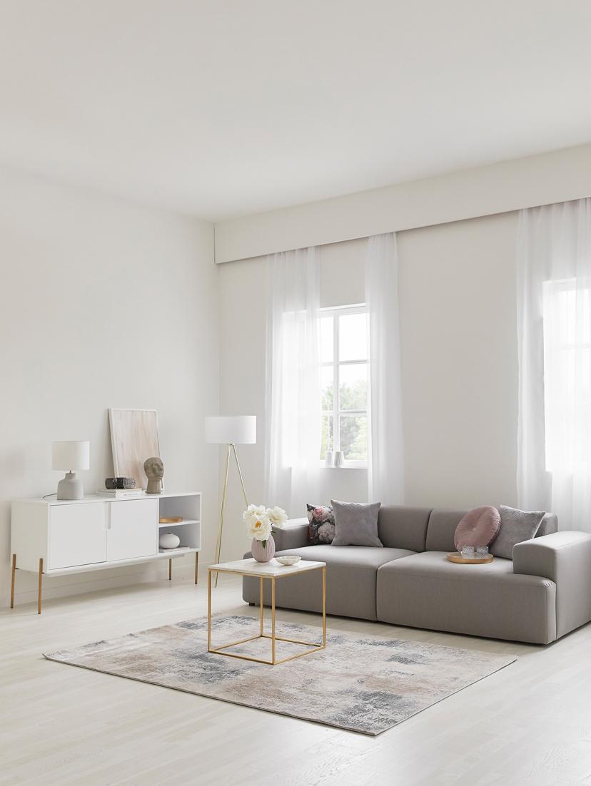 Aparador Jesper, Estructura: tablero de fibras de dens, Patas: metal pintado, Blanco, dorado, An 160 x Al 80 cm