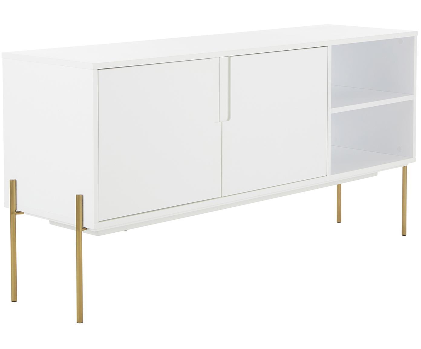 Wit dressoir Jesper met deuren, Frame: MDF met melaminecoating, Poten: gelakt metaal, Frame: wit. Poten: glanzend goudkleurig, 160 x 80 cm