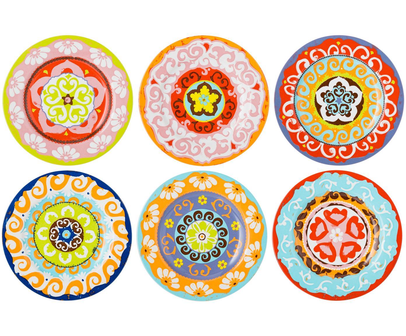 Bunt gemusterte Frühstücksteller Nador, 6er-Set, Steingut, Mehrfarbig, Ø 21  cm