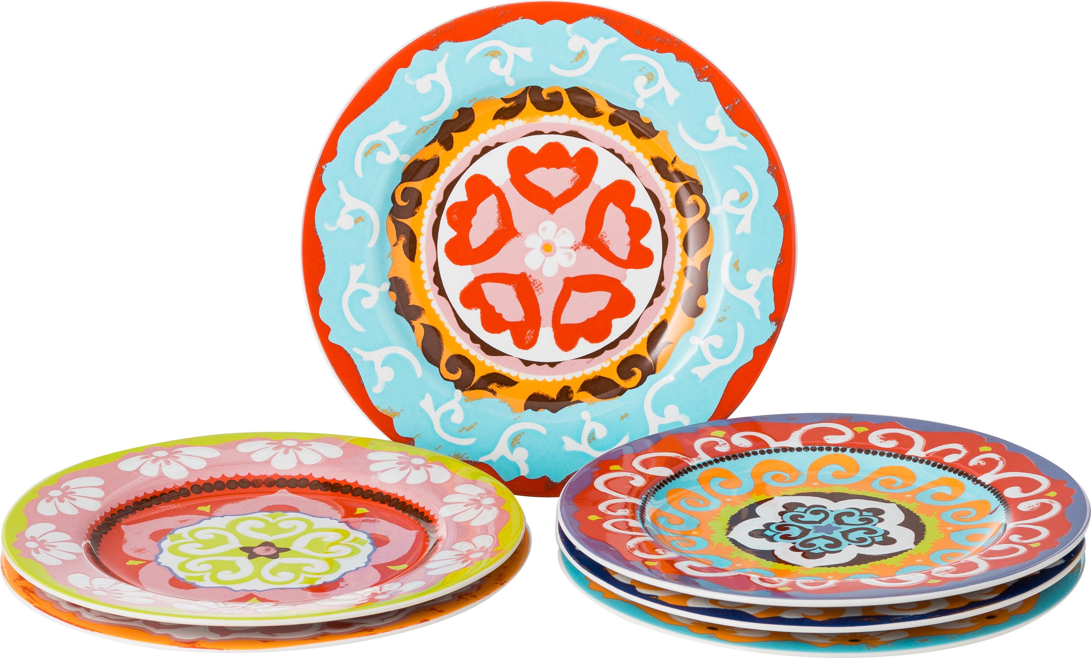 Set 6 piattini da dessert Nador, Terracotta, Multicolore, Ø 21 cm