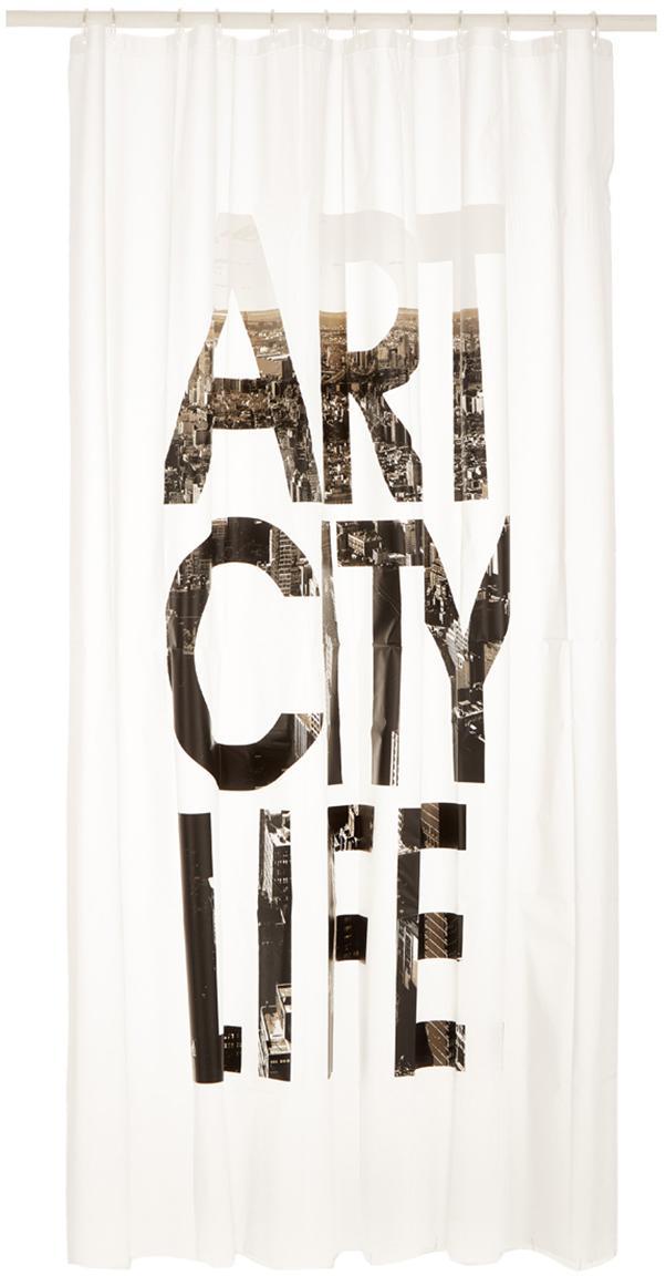 Douchegordijn Art City Life met opschrift, Wit, zwart, grijs, 180 x 200 cm