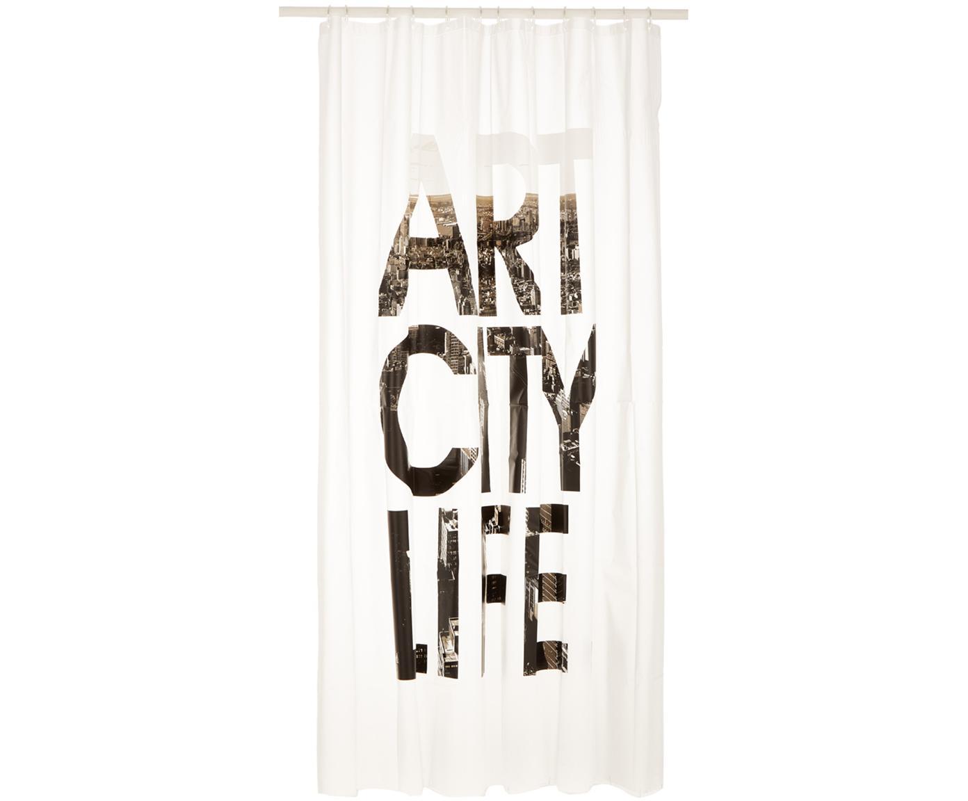 Duschvorhang Art City Life mit Schriftzug, Weiss, Schwarz, Grau, 180 x 200 cm