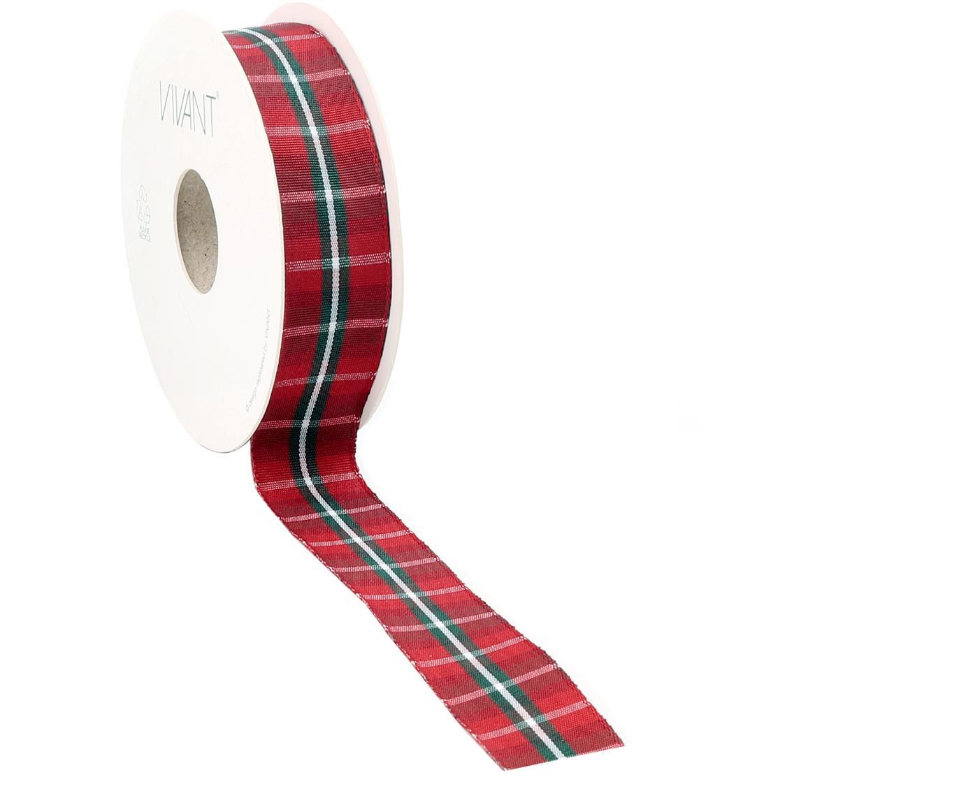 Geschenkband Scotch, 98% Polyester, 2% Dracht, vernickelt, Rot, Weiss, Grün, 3 x 1500 cm
