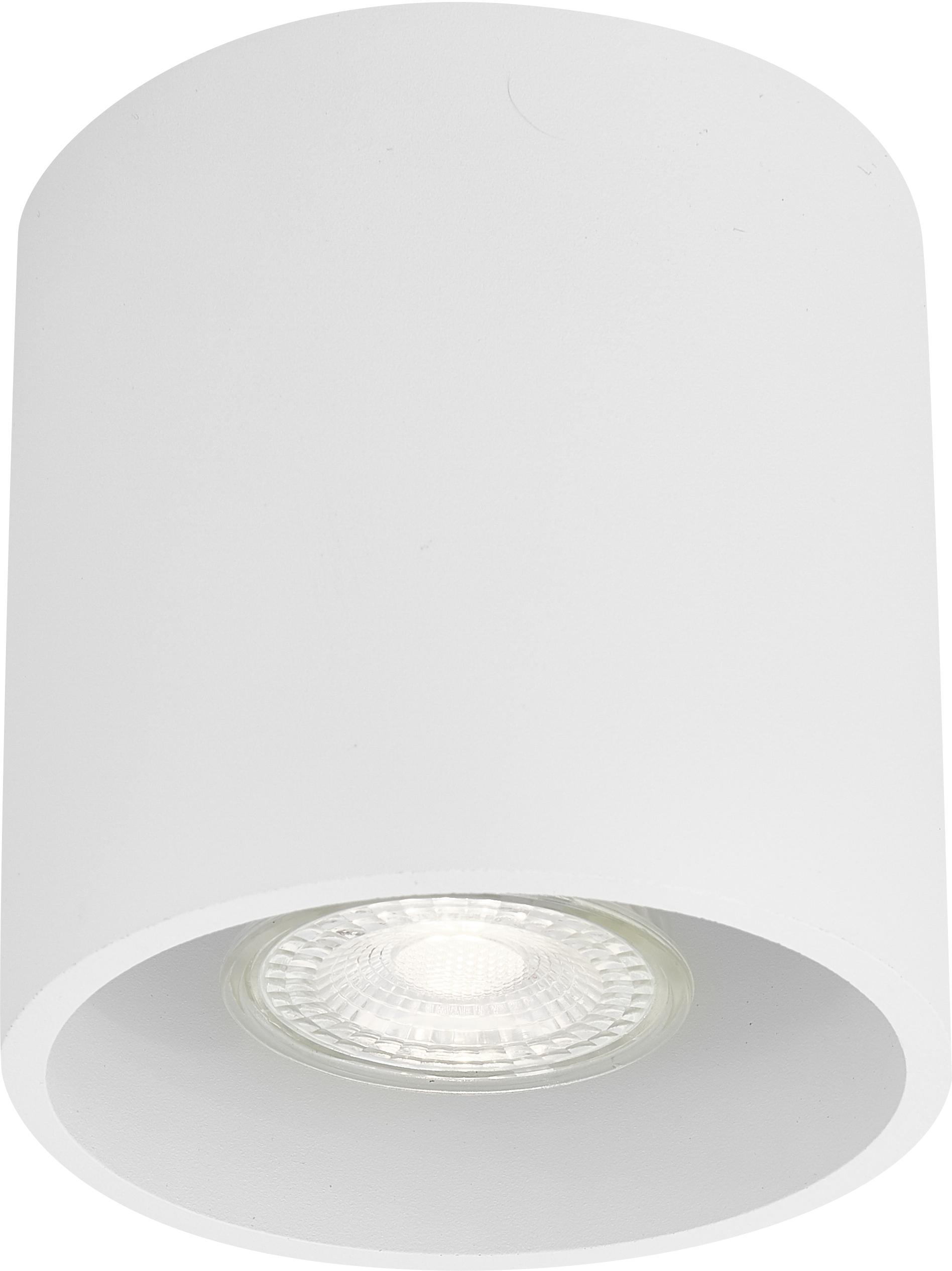 Plafondspot Roda in wit, Gecoat aluminium, Wit, Ø 10 x H 10 cm