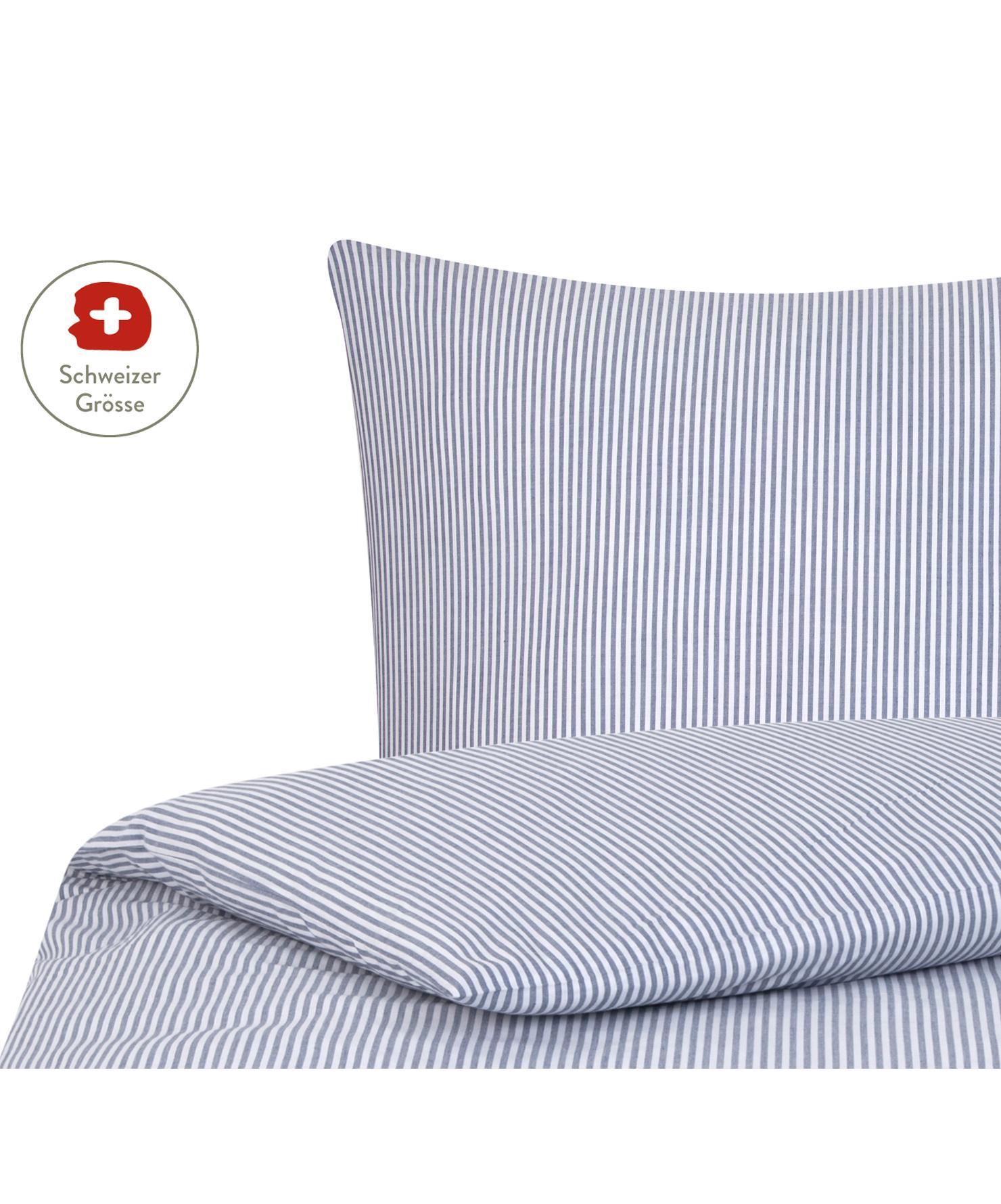 Baumwoll-Bettdeckenbezug Ellie, fein gestreift, Webart: Renforcé Fadendichte 118 , Weiss, Dunkelblau, 160 x 210 cm