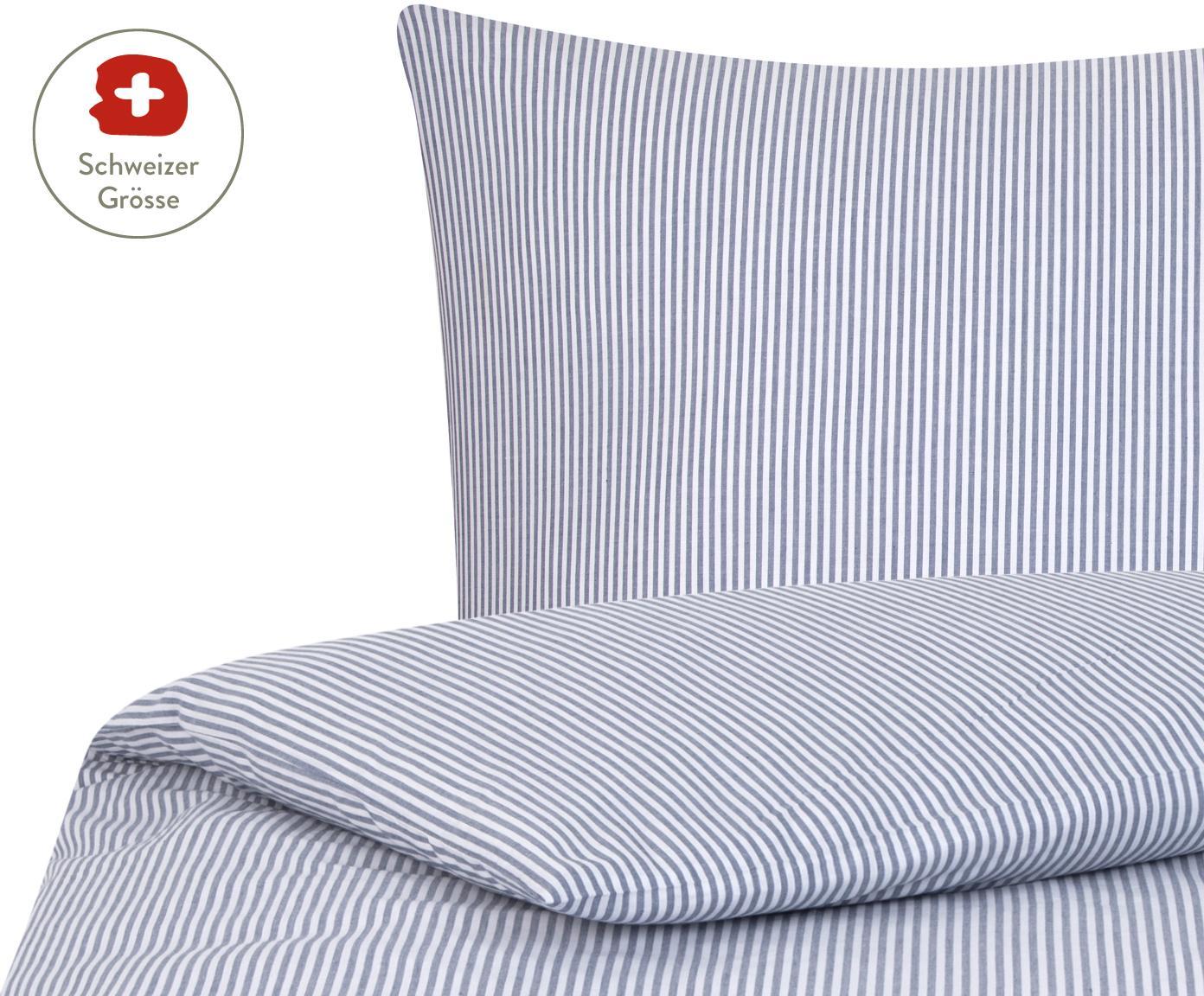 Baumwoll-Bettdeckenbezug Ellie, fein gestreift, Webart: Renforcé, Weiss, Dunkelblau, 160 x 210 cm