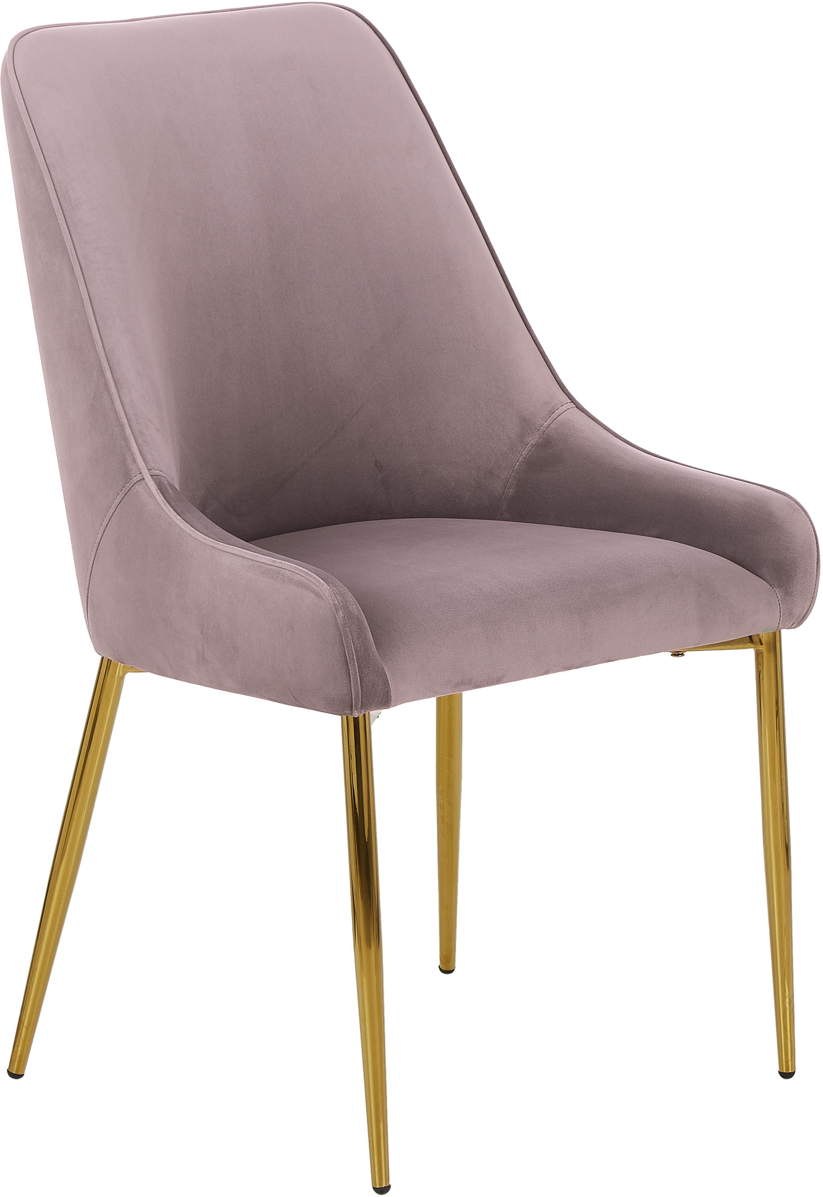 Samt-Polsterstuhl Ava mit goldfarbenen Beinen, Bezug: Samt (100% Polyester) 50., Beine: Metall, galvanisiert, Samt Mauve, B 53 x T 60 cm