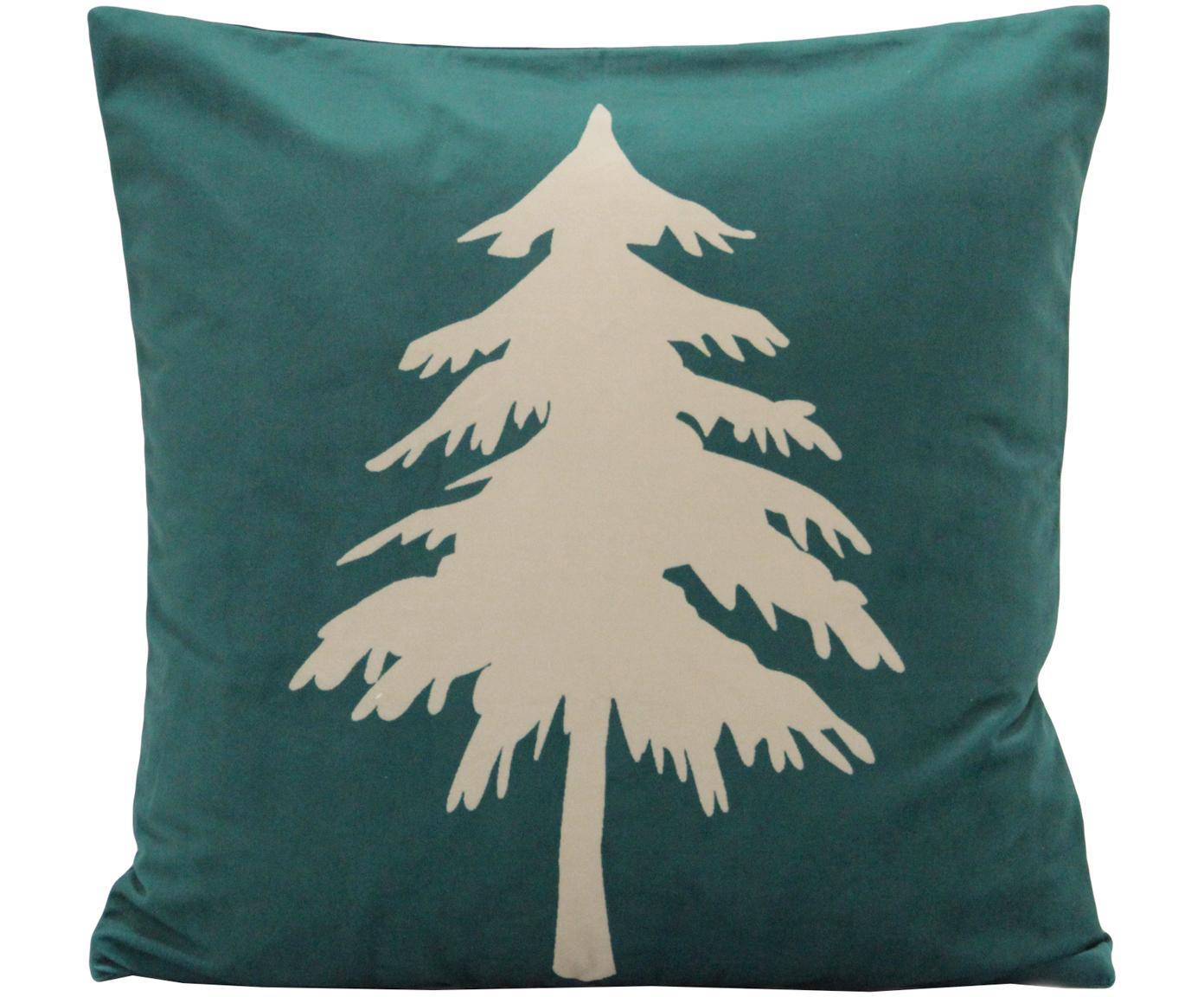 Funda de cojín de terciopelo Christmas Tree, Terciopelo de poliéster, Verde, beige, An 45 x L 45 cm