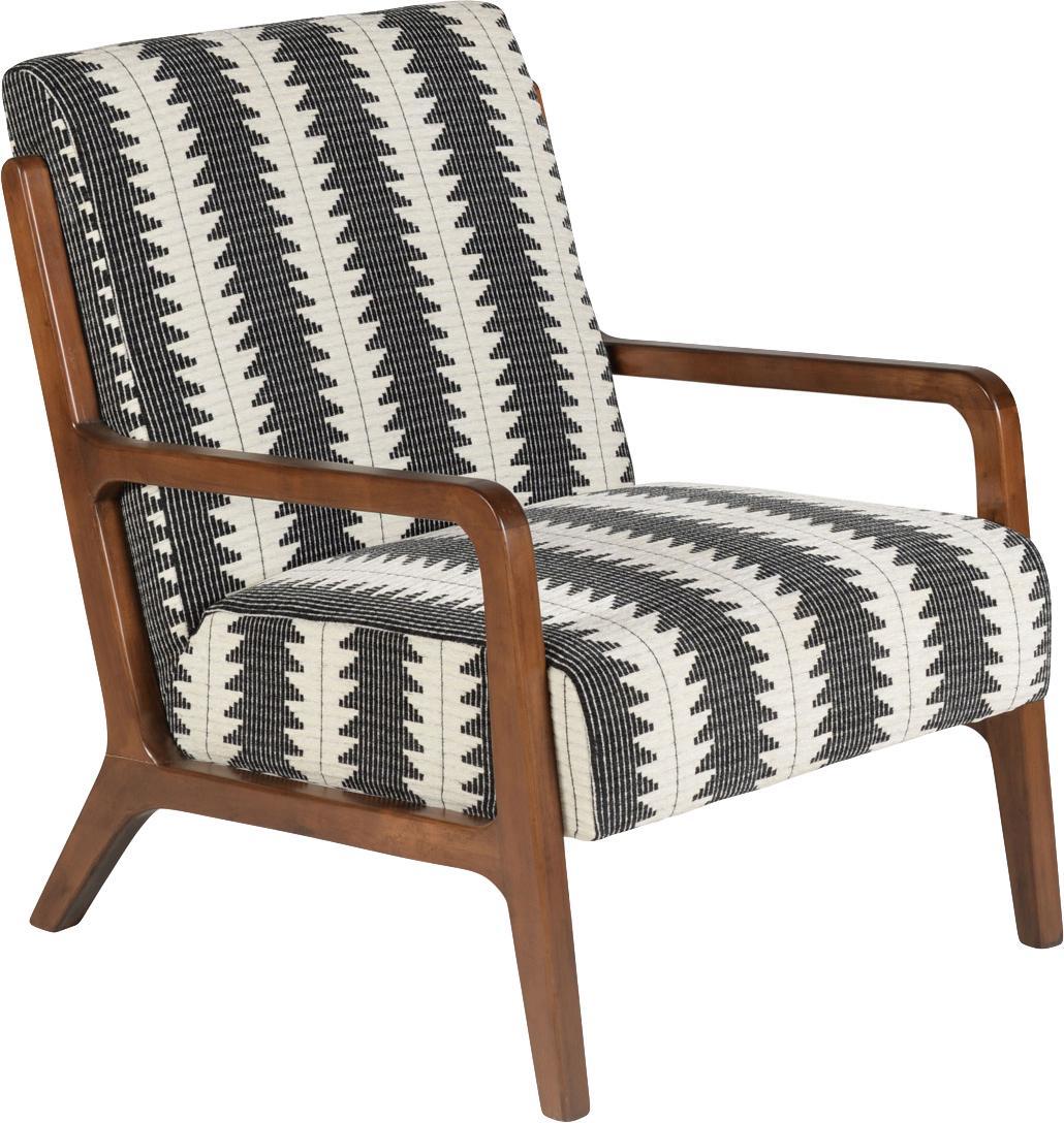 Fauteuil Naia, Bekleding: polyester, Frame: massief en geolied eikenh, Zwart, wit, B 76 x D 67 cm