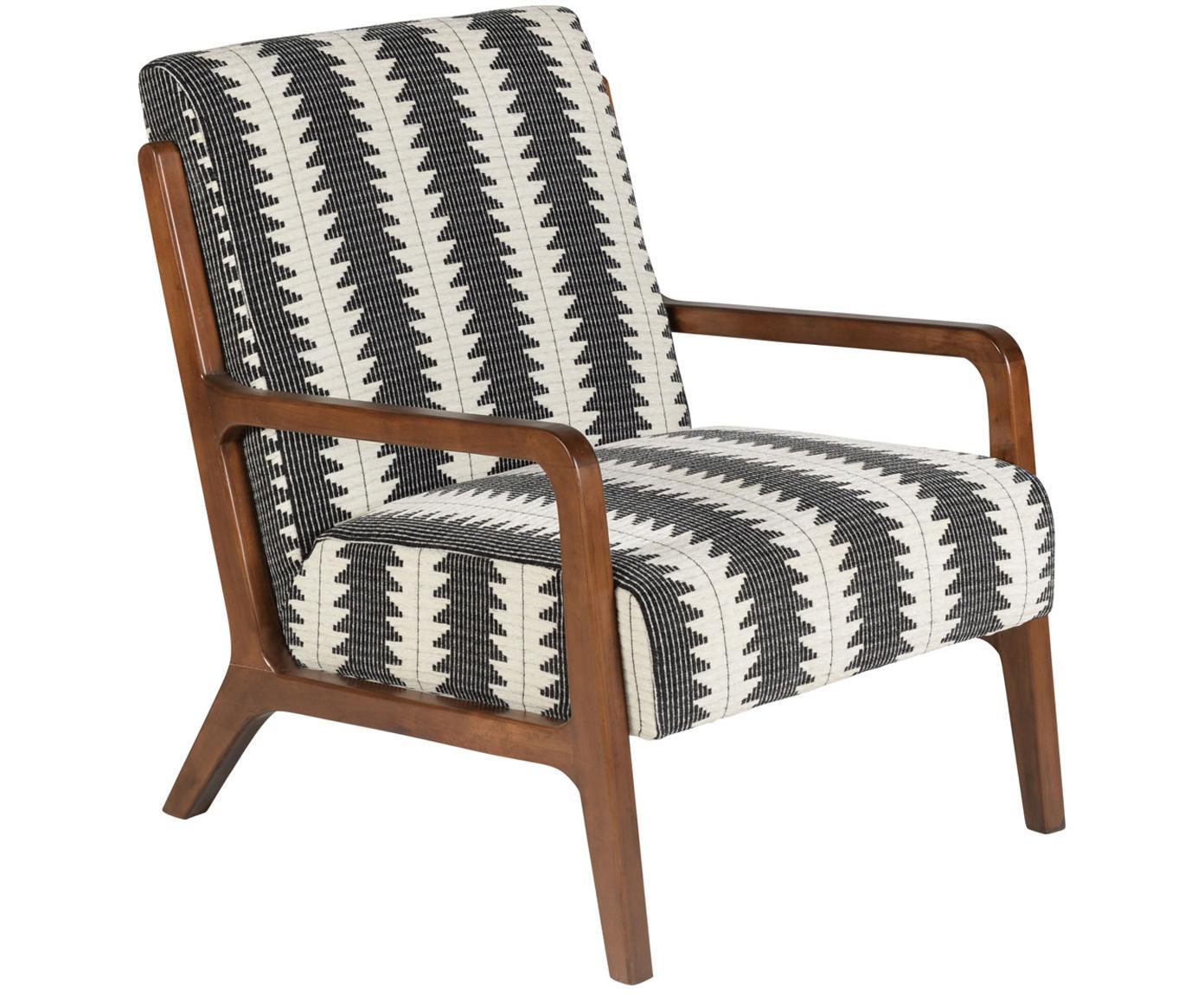 Sessel Naja mit Armlehnen aus Eichenholz, Bezug: Polyester 90.000 Scheuert, Gestell: Eichenholz, massiv und ge, Schwarz, Weiß, B 76 x T 67 cm
