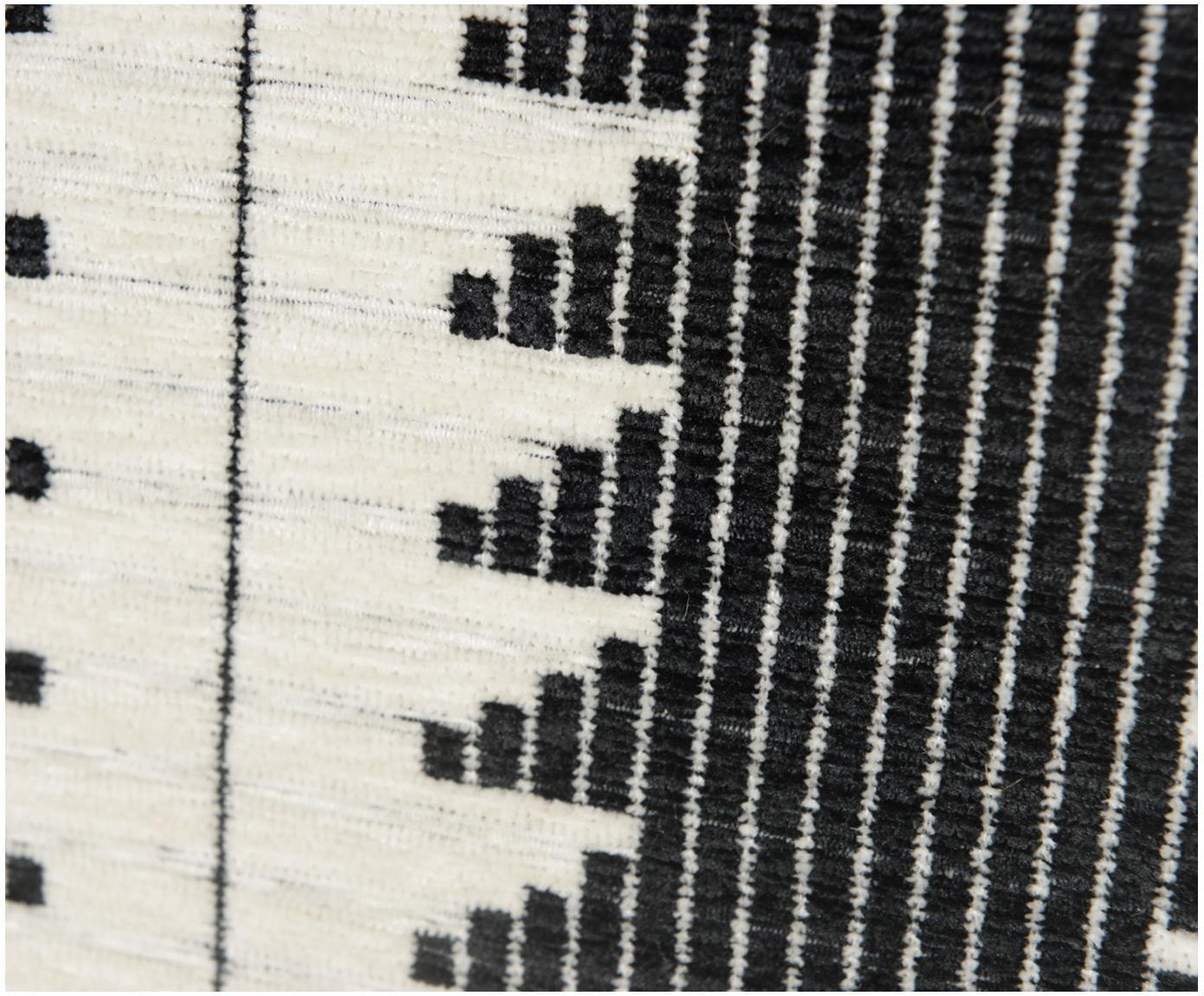 Sedia a poltrona con braccioli in legno di quercia Naja, Rivestimento: poliestere 90.000 cicli d, Struttura: legno di quercia massello, Nero, bianco, Larg. 76 x Prof. 67 cm
