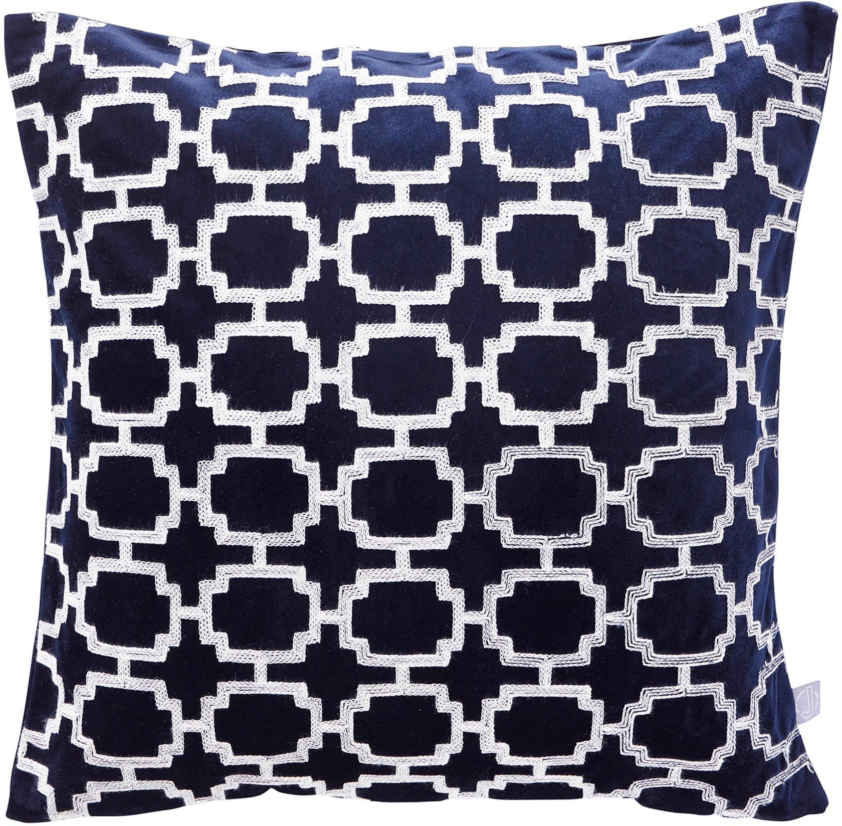 Geborduurde fluwelen kussenhoes Simone, 100% polyester fluweel, Donkerblauw, gebroken wit, 45 x 45 cm