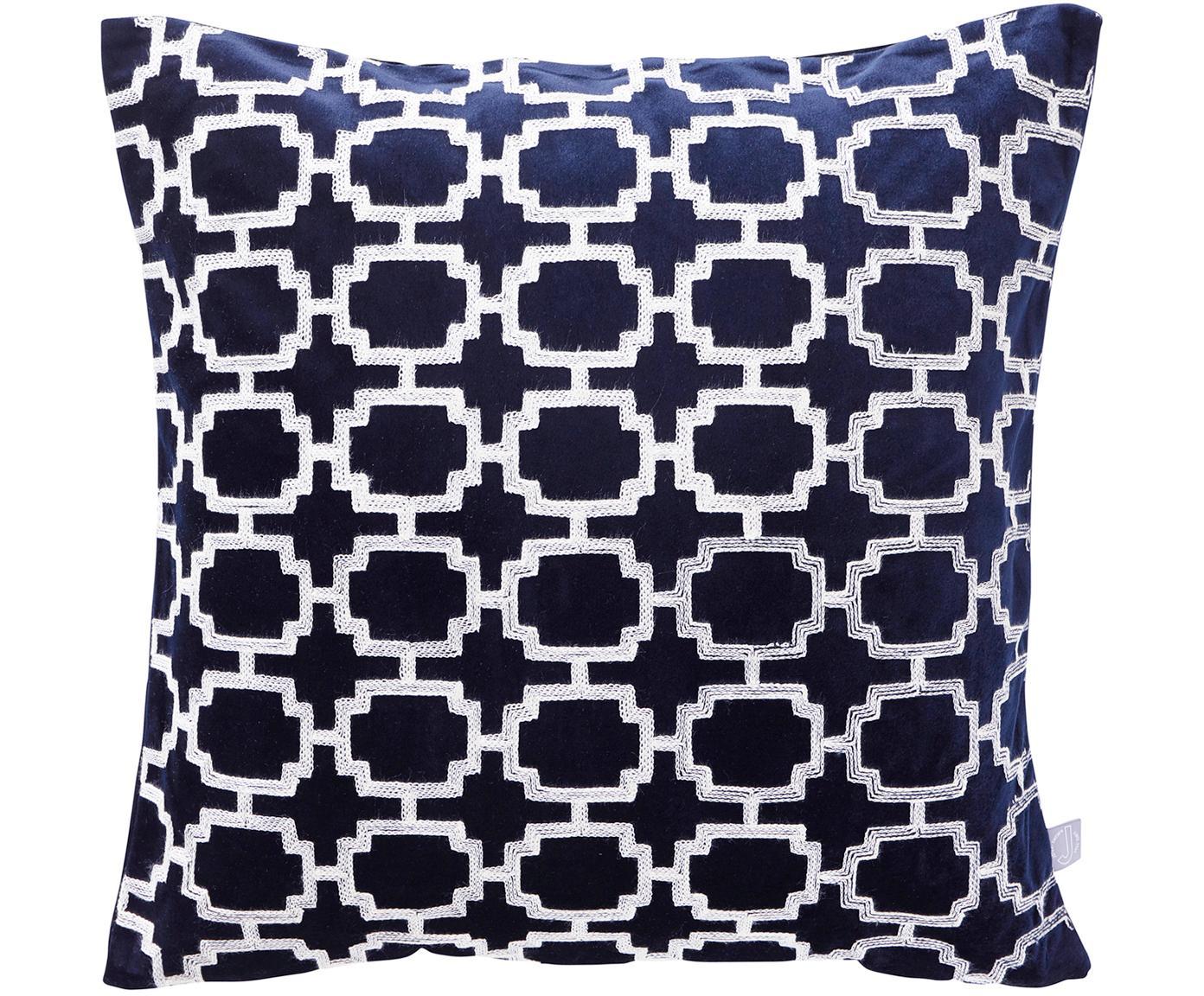 Poszewka na poduszkę z aksamitu Simone, 100% aksamit poliestrowy, Ciemnoniebieski, złamana biel, S 43 x D 43 cm