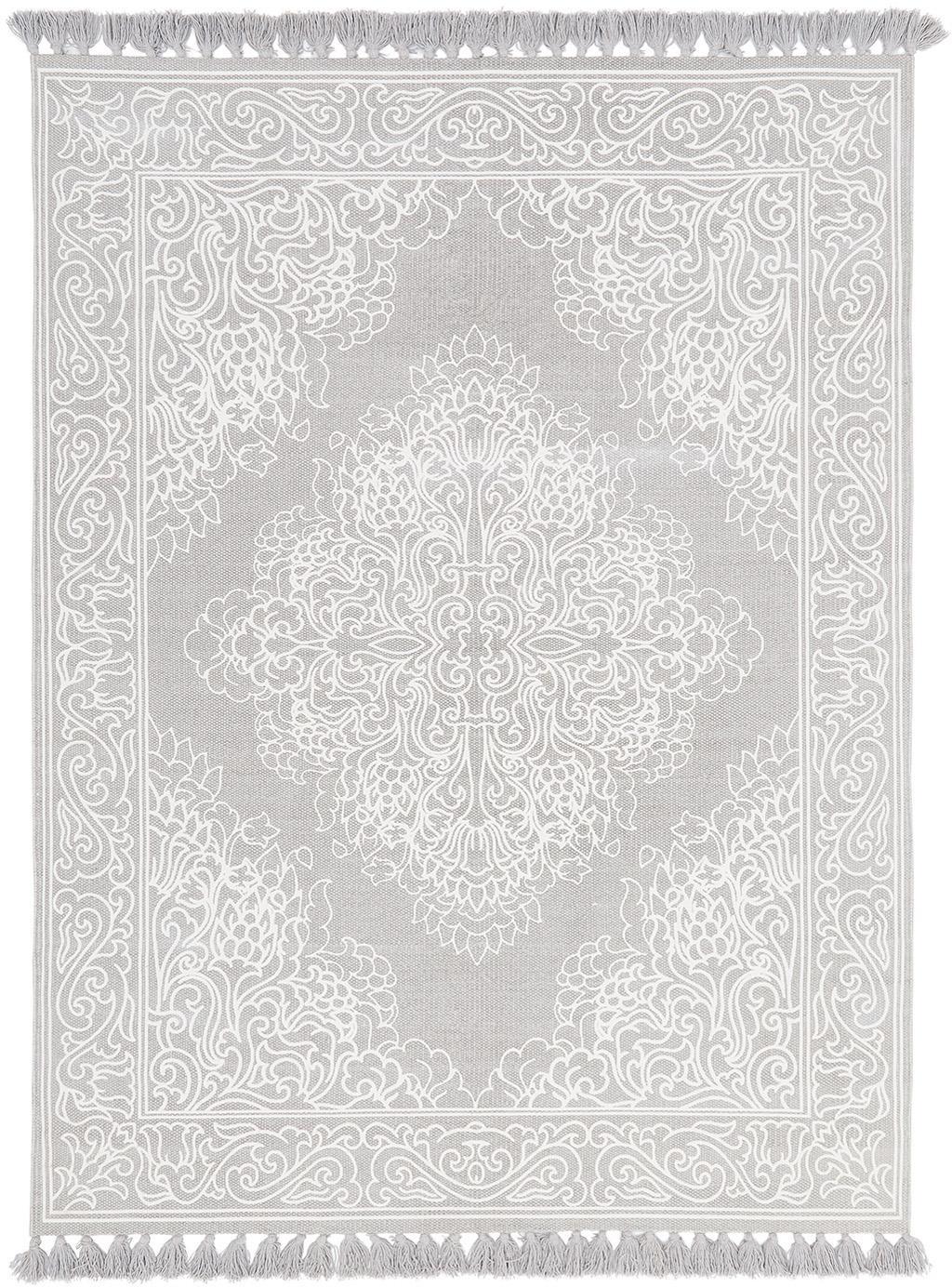 Tappeto in cotone tessuto a mano Salima, 100% cotone, Grigio chiaro, bianco crema, Larg. 160 x Lung. 230 cm (taglia M)