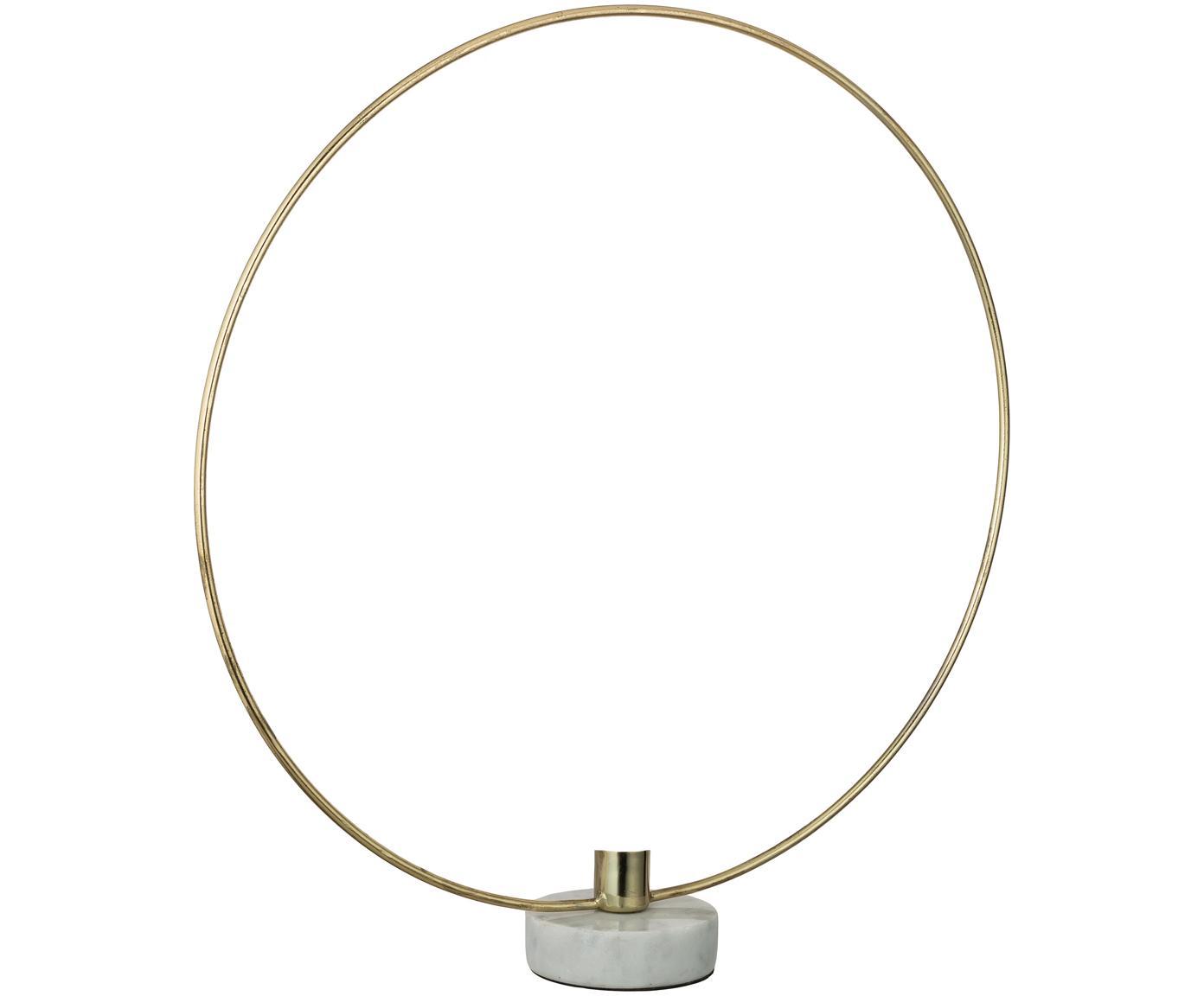 Kerzenhalter Ring, Kerzenhalter: Metall, beschichtet, Fuß: Marmor, Goldfarben, Weiß, 38 x 40 cm