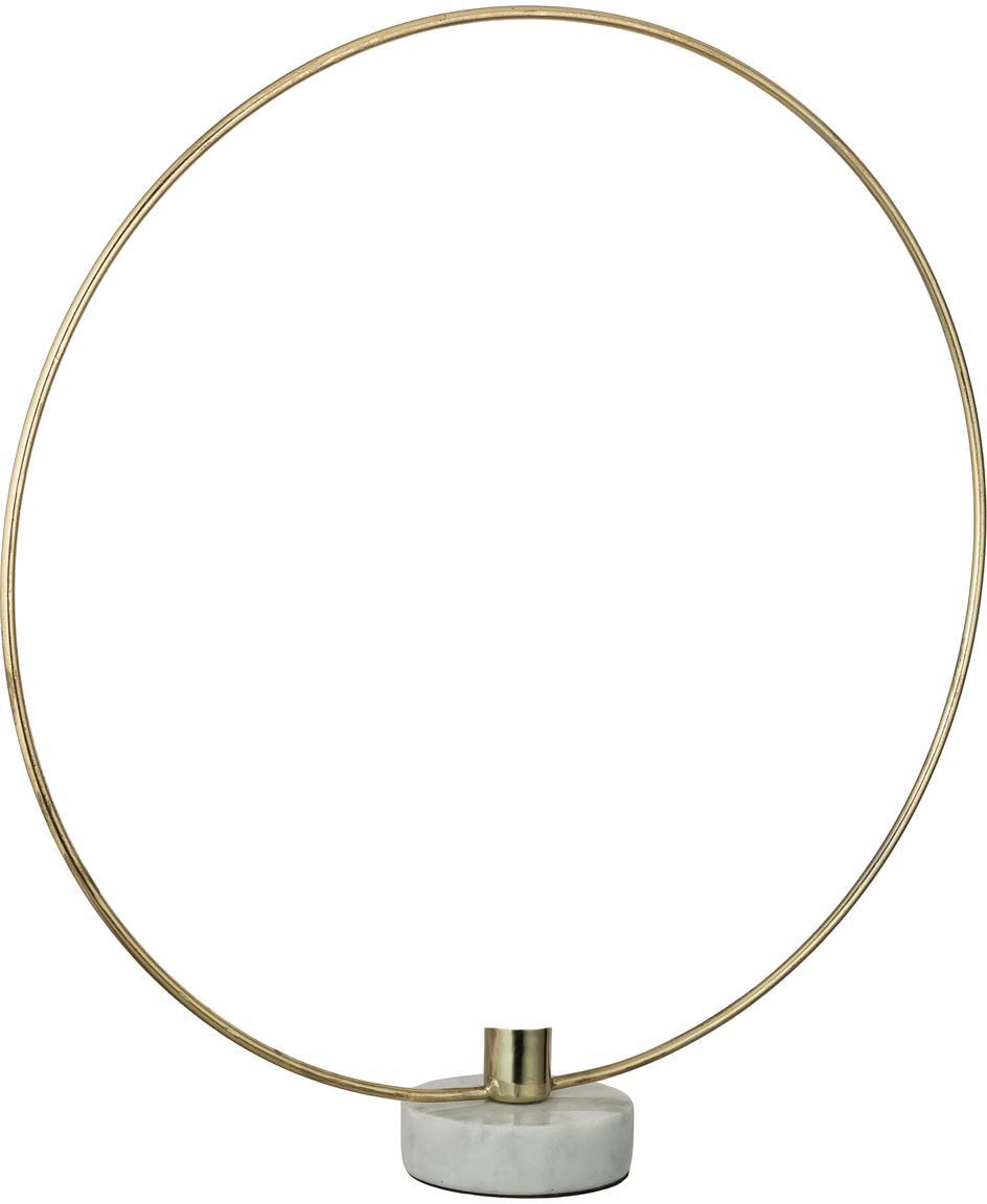 Świecznik Ring, Nogi: marmur, Odcienie złotego, biały, S 38 x W 40 cm