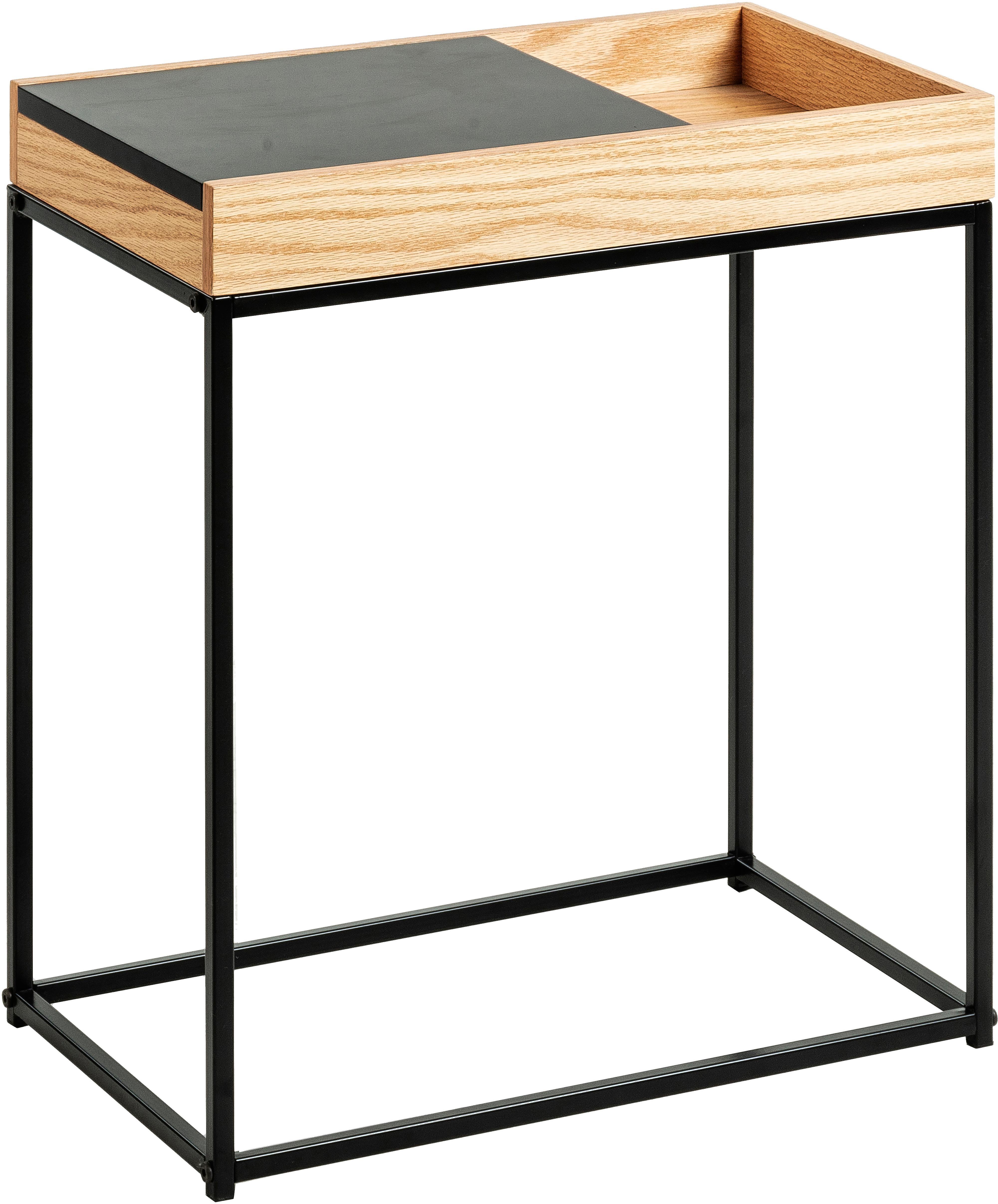 Beistelltisch Detail mit Schiebedeckel, Ablagefläche: Mitteldichte Holzfaserpla, Beine: Metall, lackiert, Eichenholz, Schwarz, B 50 x T 30 cm