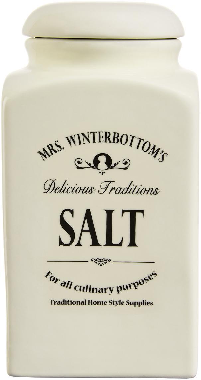 Bote Mrs Winterbottoms Salt, Gres, Crema, negro, Ø 11 x Al 21 cm