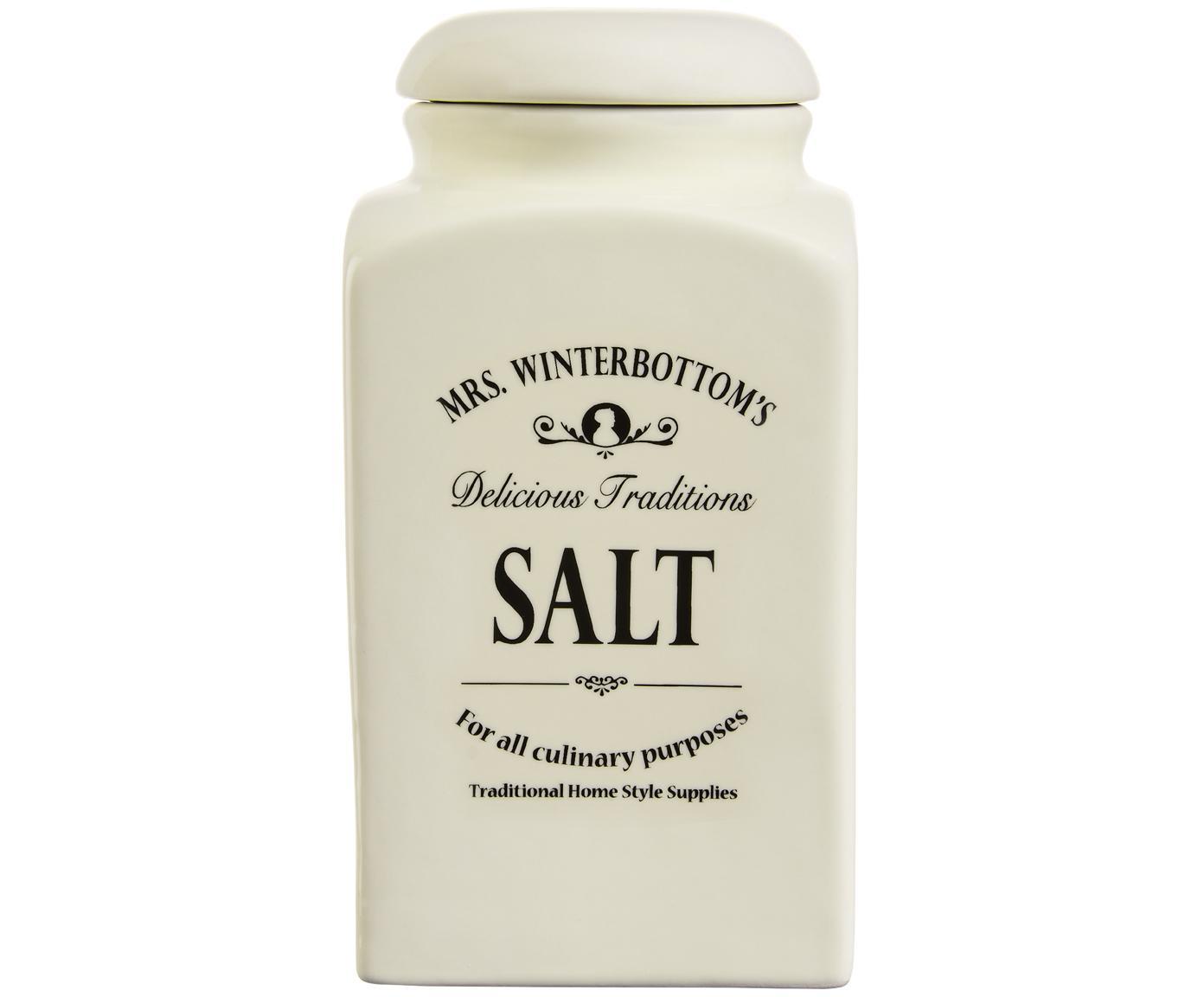 Aufbewahrungsdose Mrs Winterbottoms Salt, Steingut, Creme, Schwarz, Ø 11 x H 21 cm