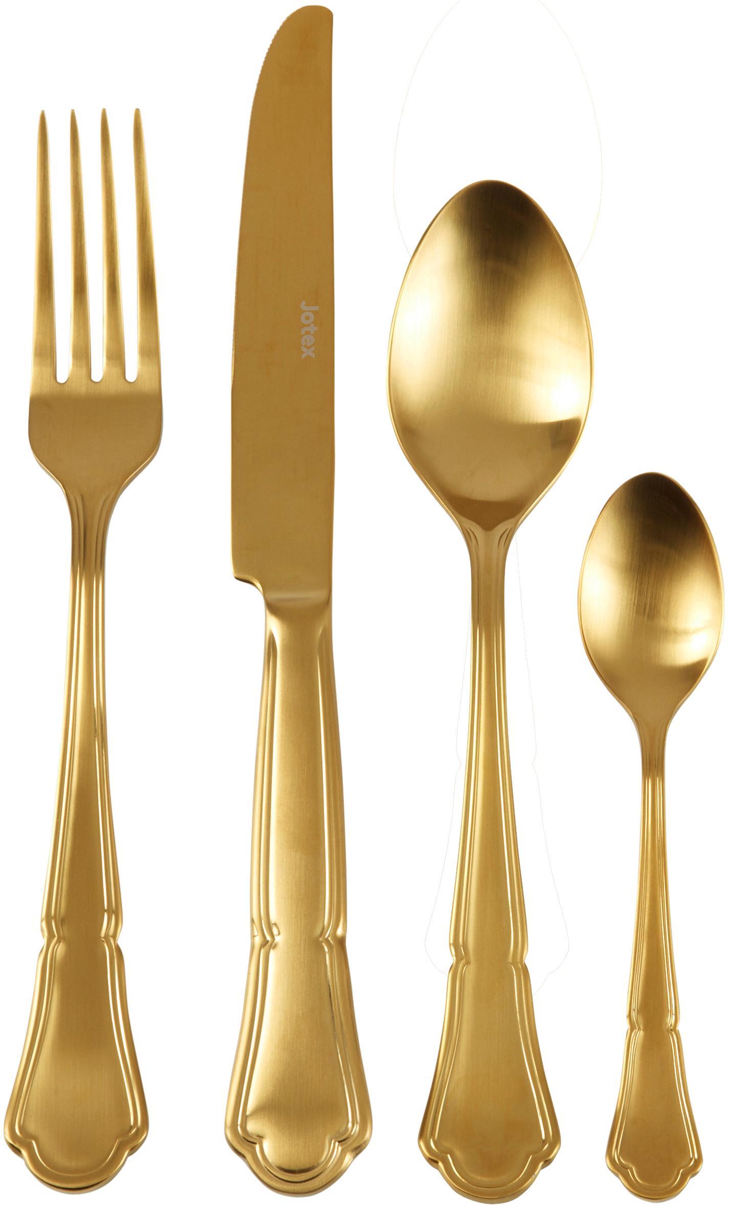 Goldfarbenes Besteck-Set Bite aus Edelstahl, 6 Personen (24-tlg.), Edelstahl, Goldfarben, Sondergrößen