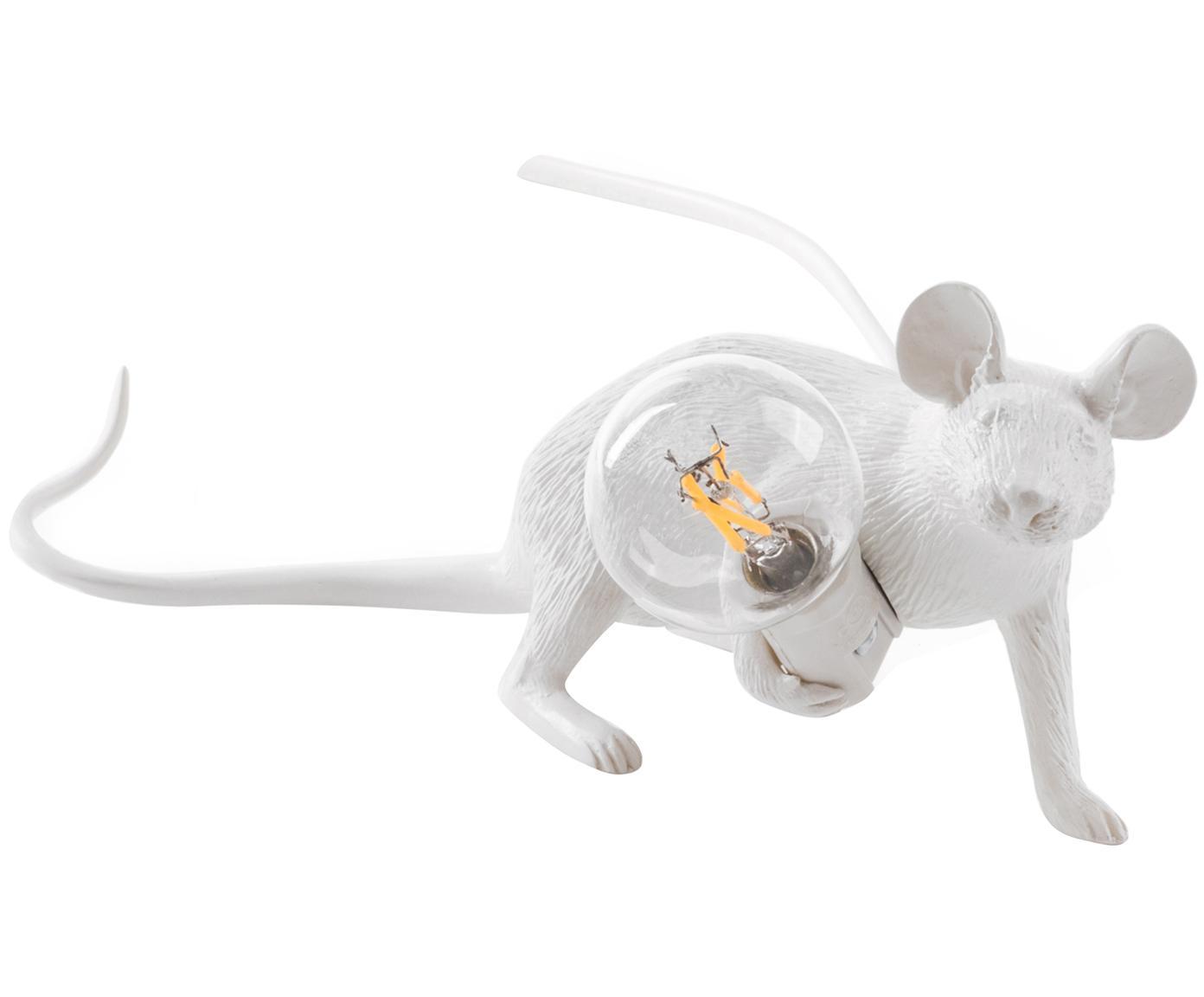 Mała lampa stołowa Mouse, Żywica syntetyczna, Biały, S 21 x W 8 cm