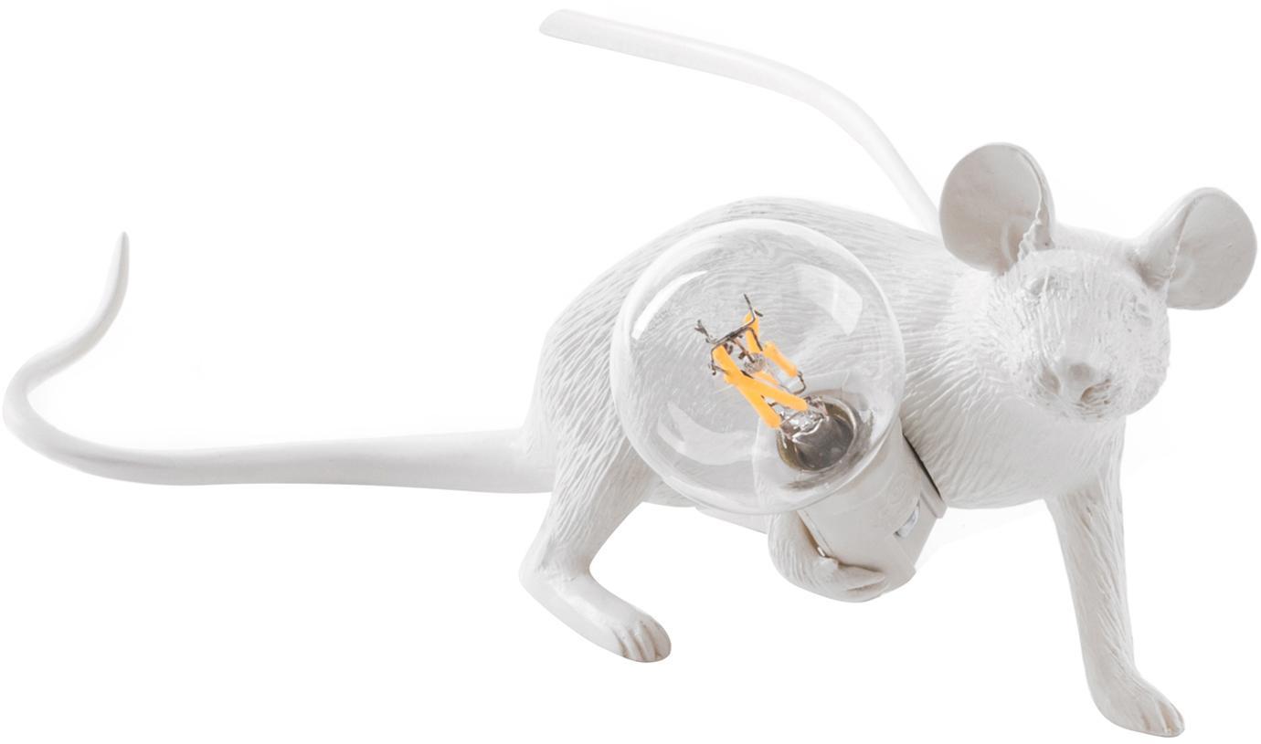 Design-Tischlampe Mouse, Kunstharz, Weiss, 21 x 8 cm