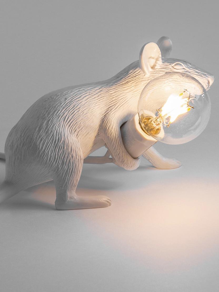 Petite lampe à poser design Mouse, Blanc