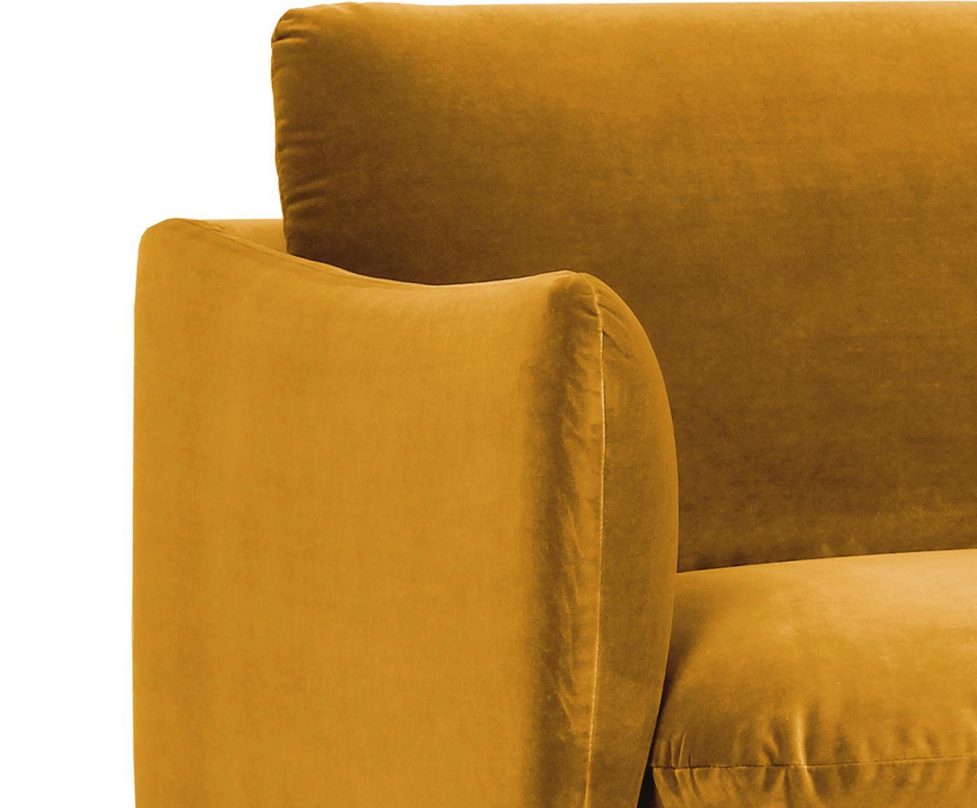 Sofa narożna z aksamitu Moby, Tapicerka: aksamit (wysokiej jakości, Stelaż: lite drewno sosnowe, Nogi: metal malowany proszkowo, Musztardowy, S 280 x G 160 cm